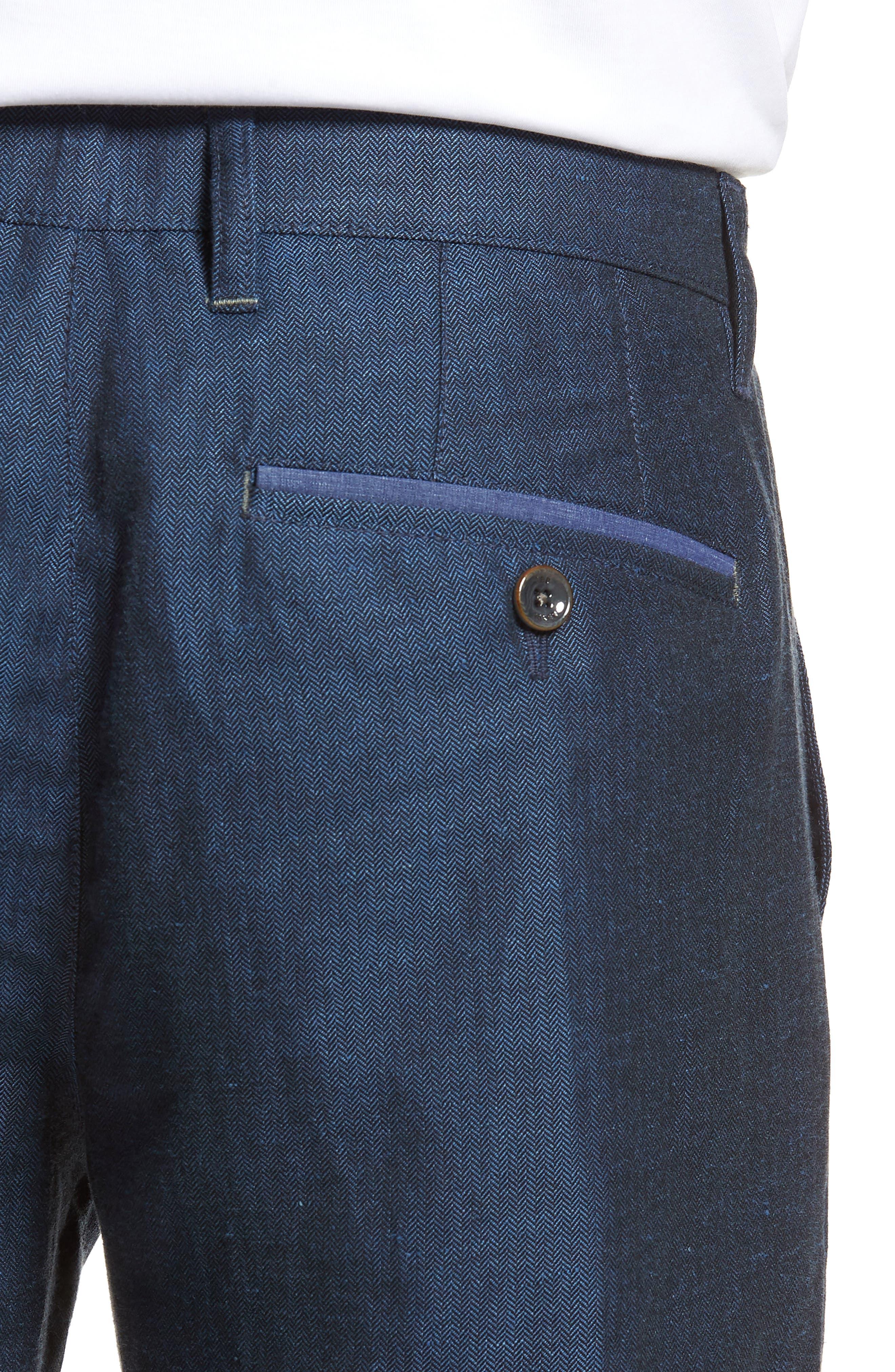 Cazzman Flat Front Stretch Pants,                             Alternate thumbnail 4, color,                             Navy