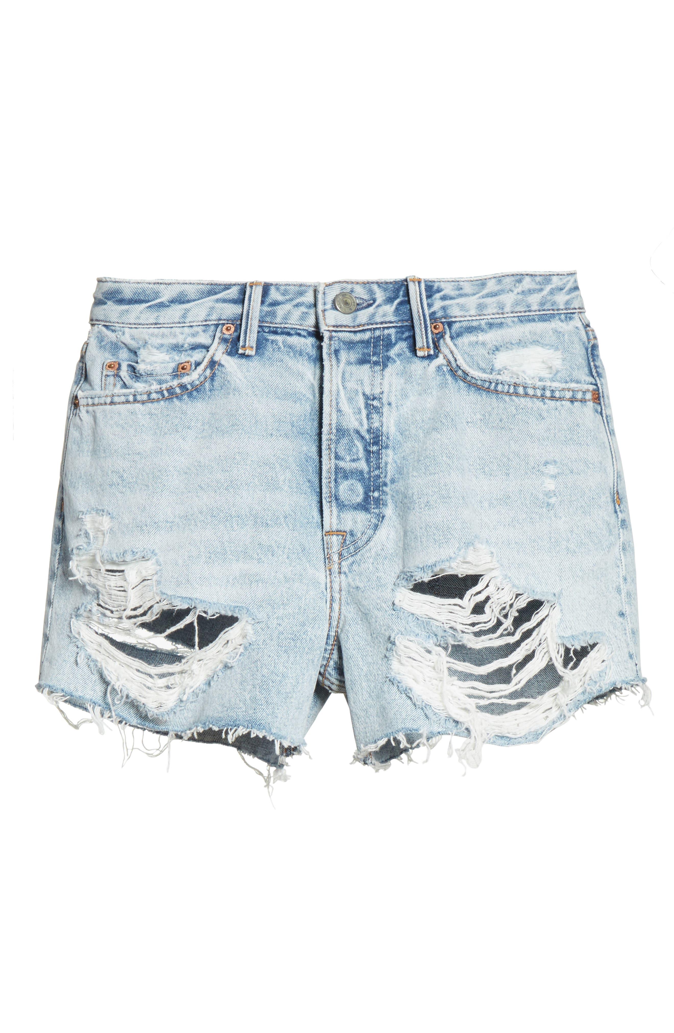 Helena Ripped Denim Shorts,                             Alternate thumbnail 6, color,                             Acetone