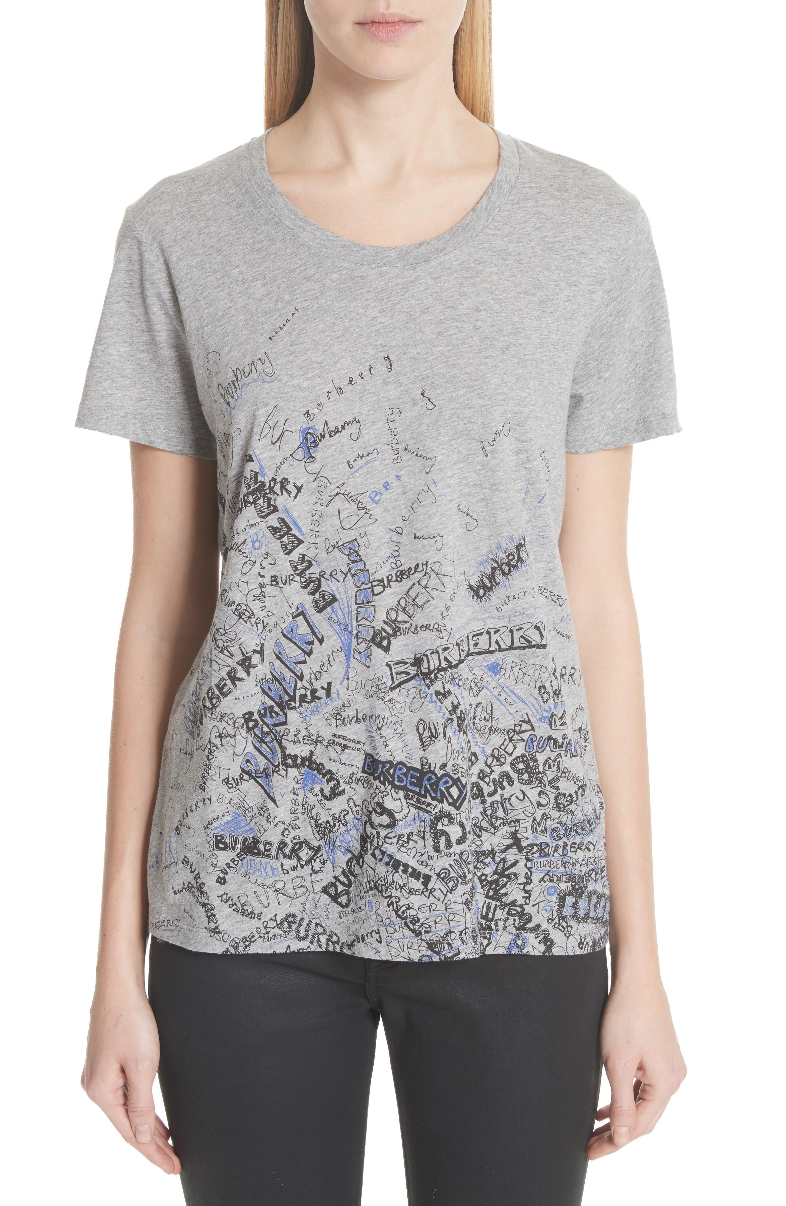 Doodle Print Cotton Tee,                         Main,                         color, Pale Grey Melange