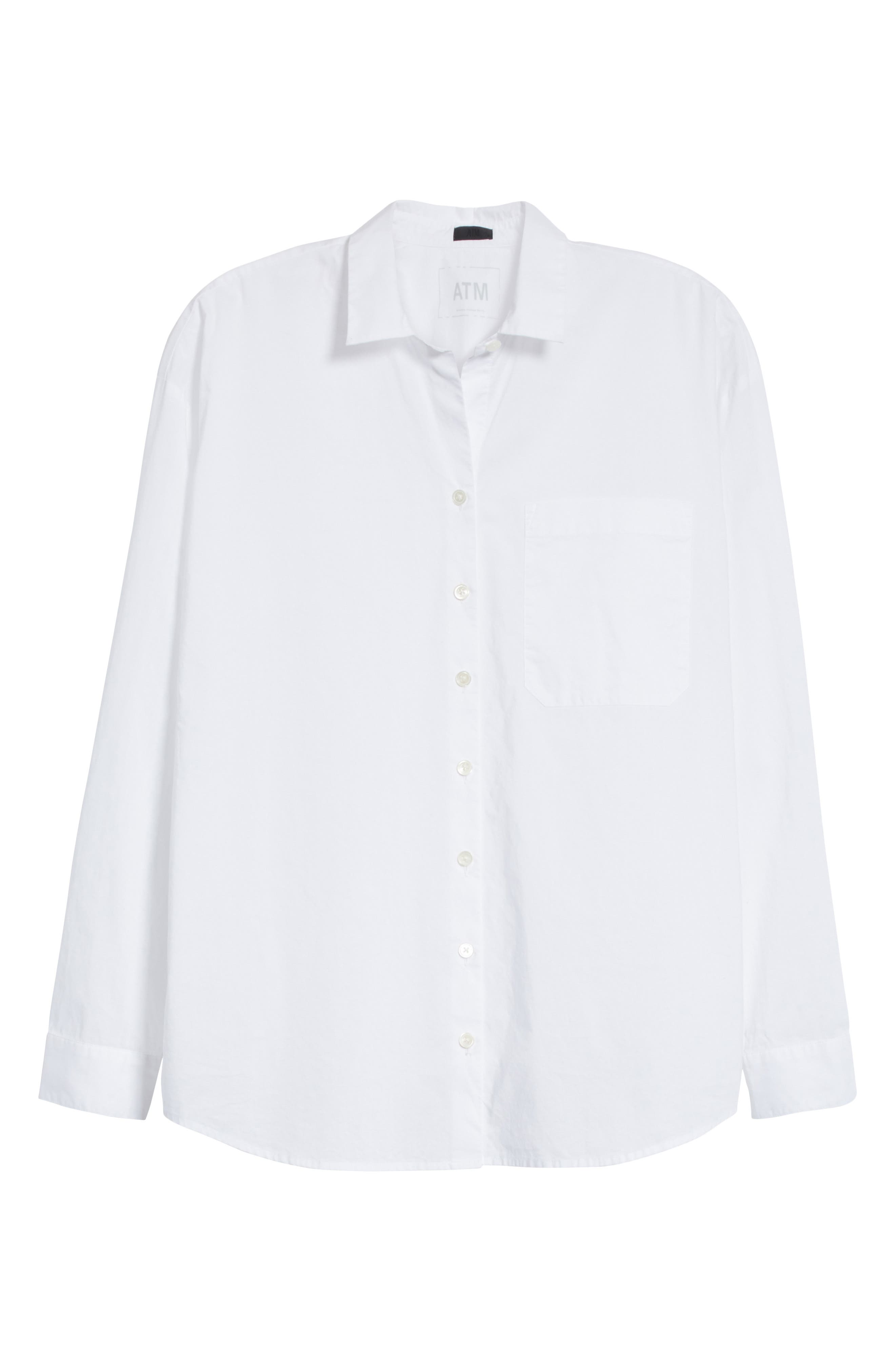 Cotton Poplin Boyfriend Shirt,                             Alternate thumbnail 6, color,                             White