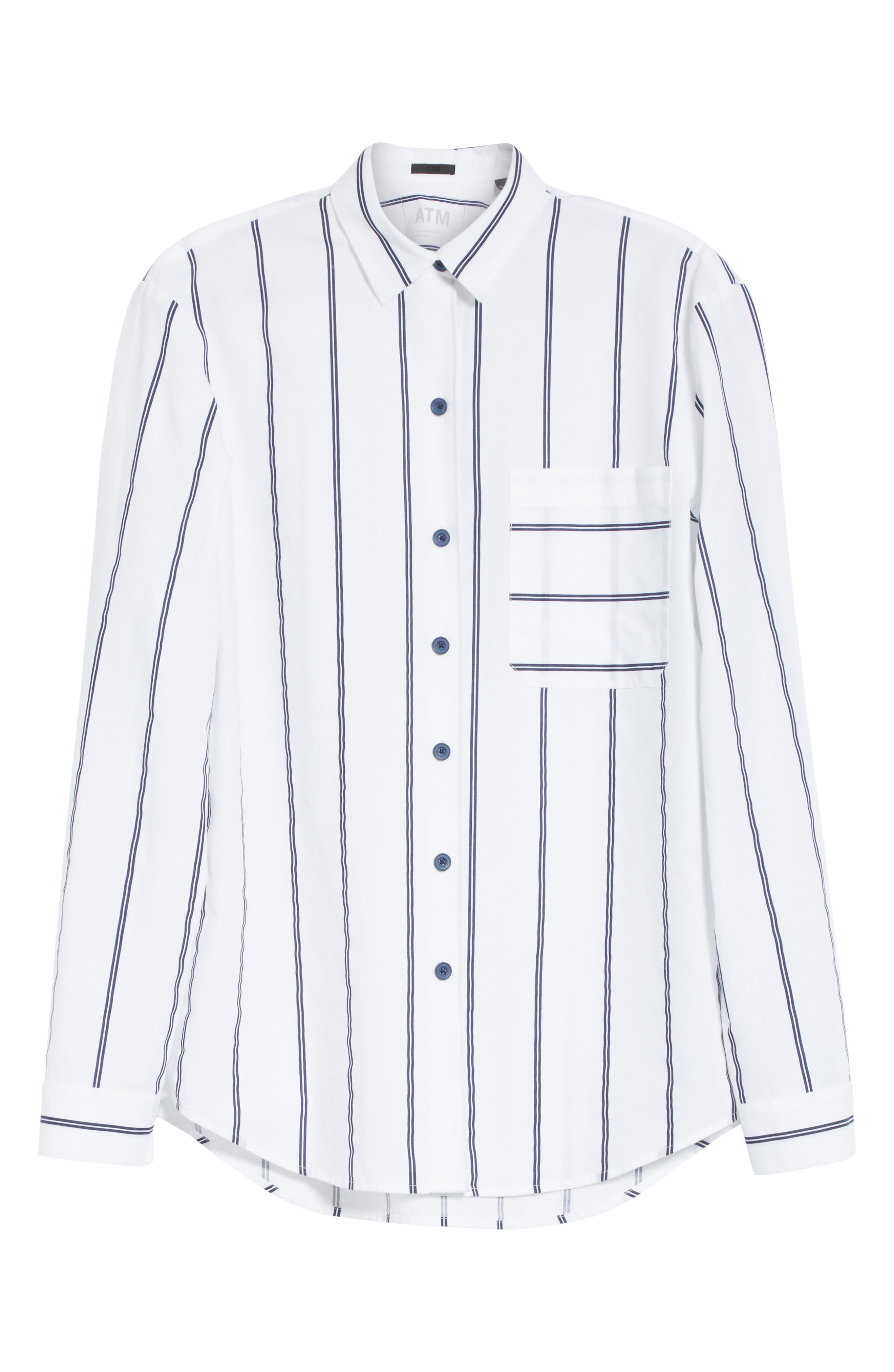 Railroad Stripe Boyfriend Shirt,                             Alternate thumbnail 6, color,                             White/ Midnight Stripe