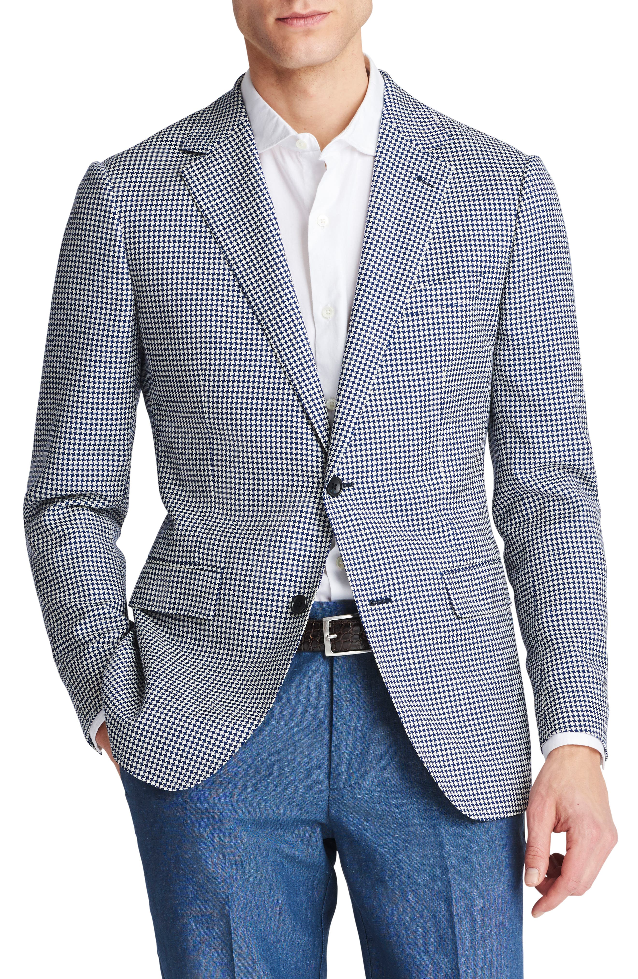 Capstone Slim Fit Houndstooth Wool Sport Coat,                             Main thumbnail 1, color,                             Navy White Houndstooth