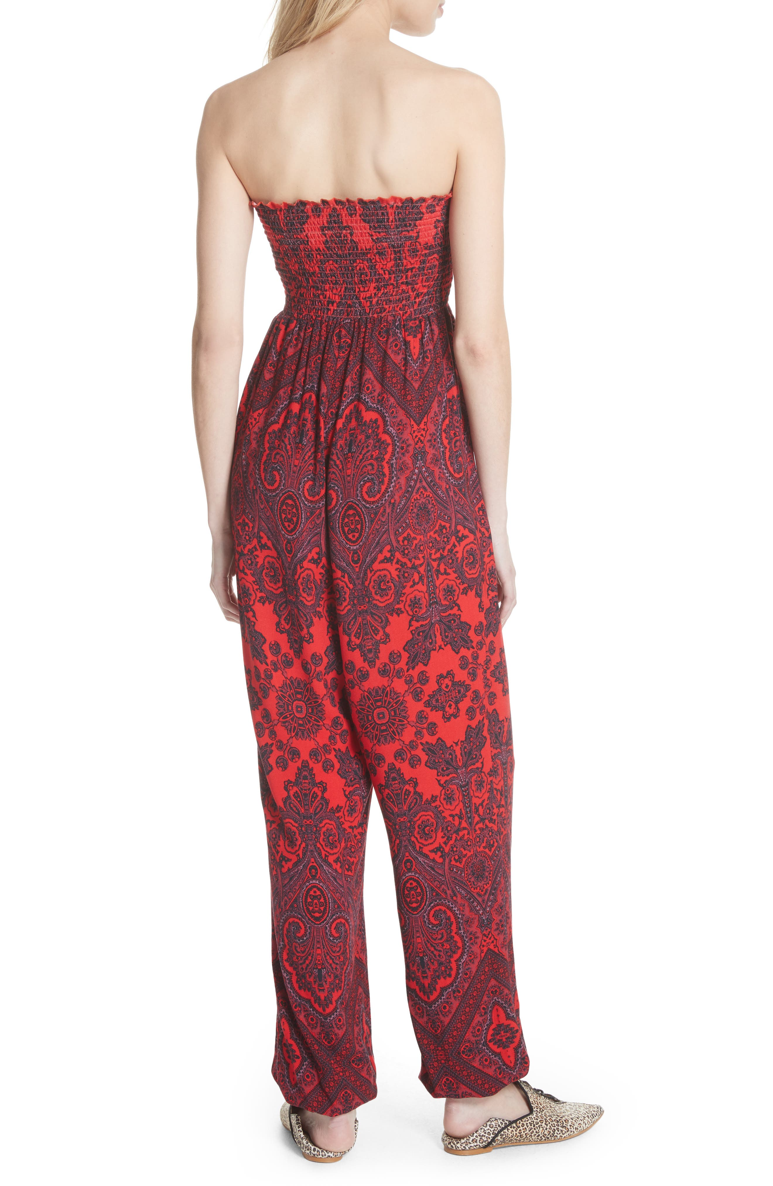 Thinking of You Smocked Jumpsuit,                             Alternate thumbnail 2, color,                             Red Combo