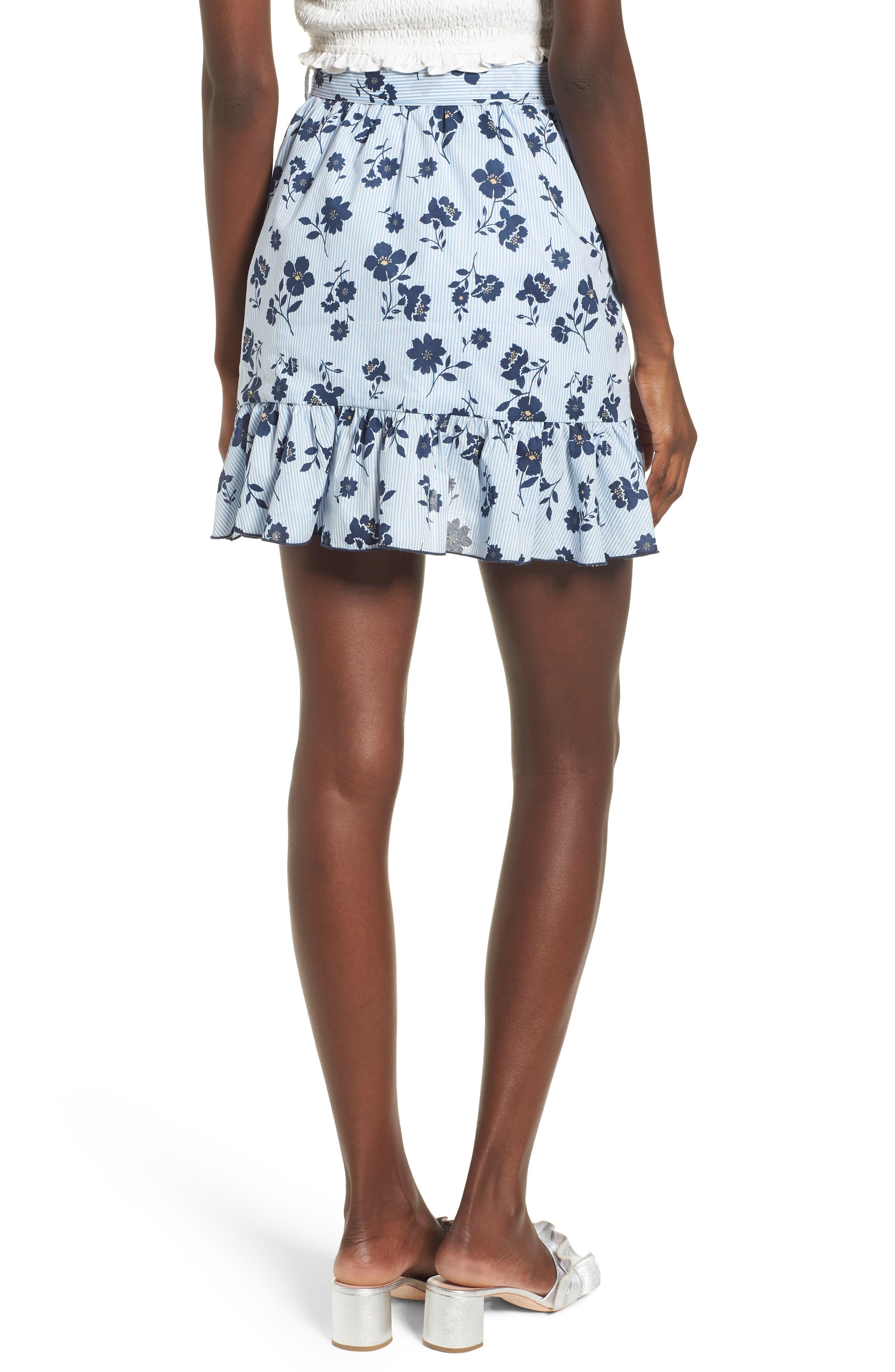Floral Ruffle Wrap Skirt,                             Alternate thumbnail 3, color,                             Sky Stripe
