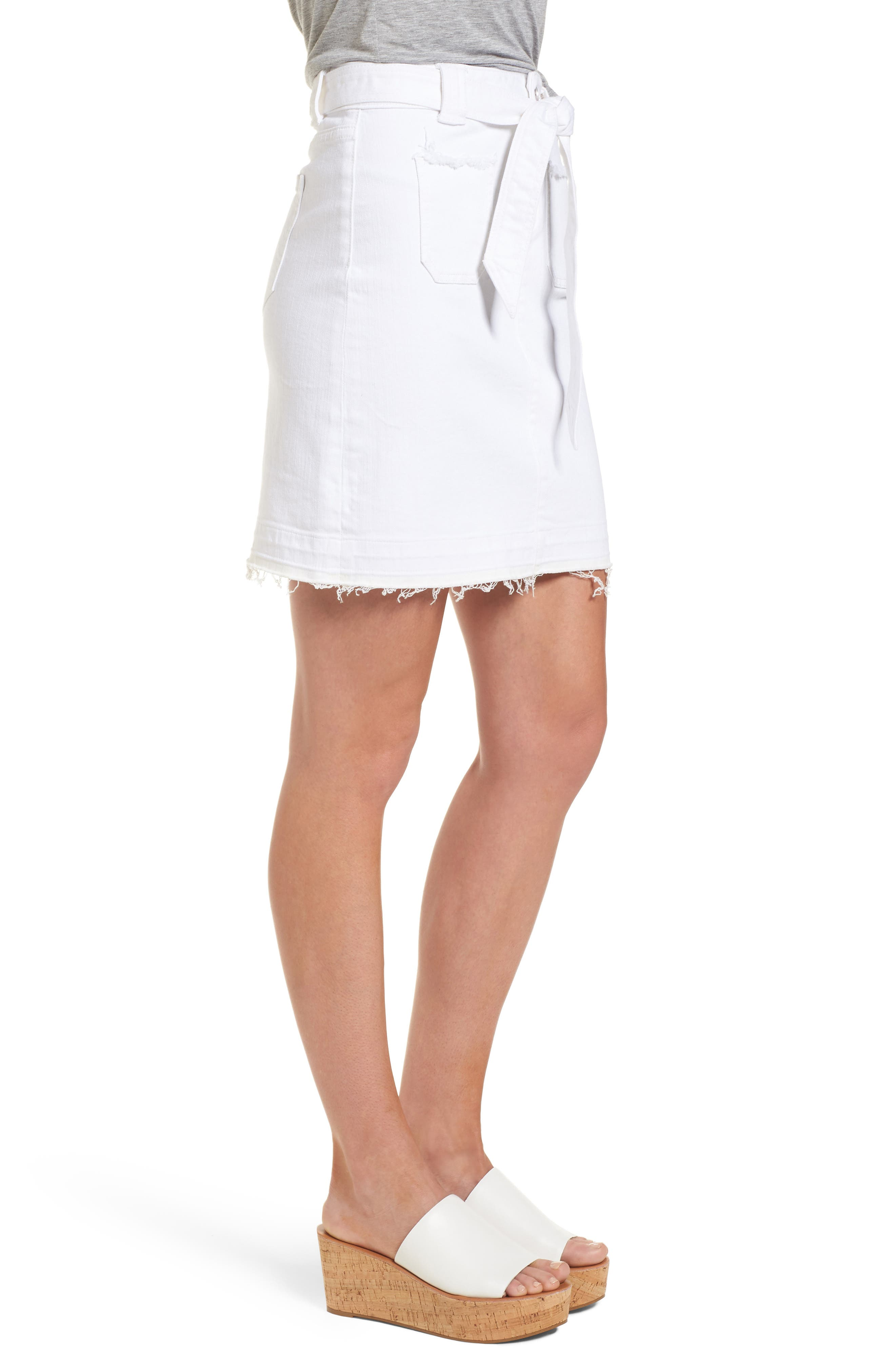 Belted Release Hem Stretch Cotton Twill Skirt,                             Alternate thumbnail 3, color,                             White