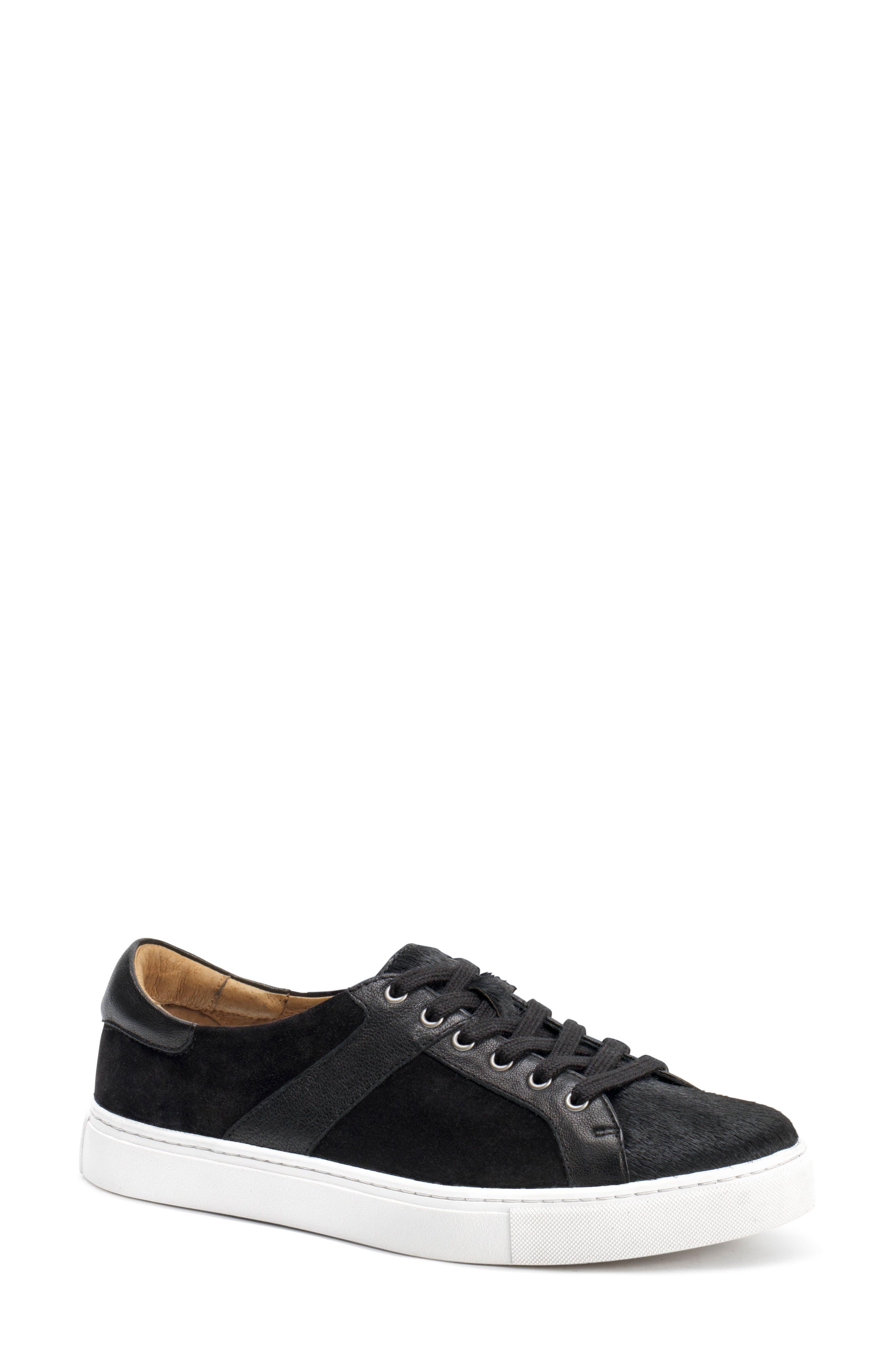 Lindsey Genuine Calf Hair Sneaker,                             Main thumbnail 1, color,                             Black Calfhair