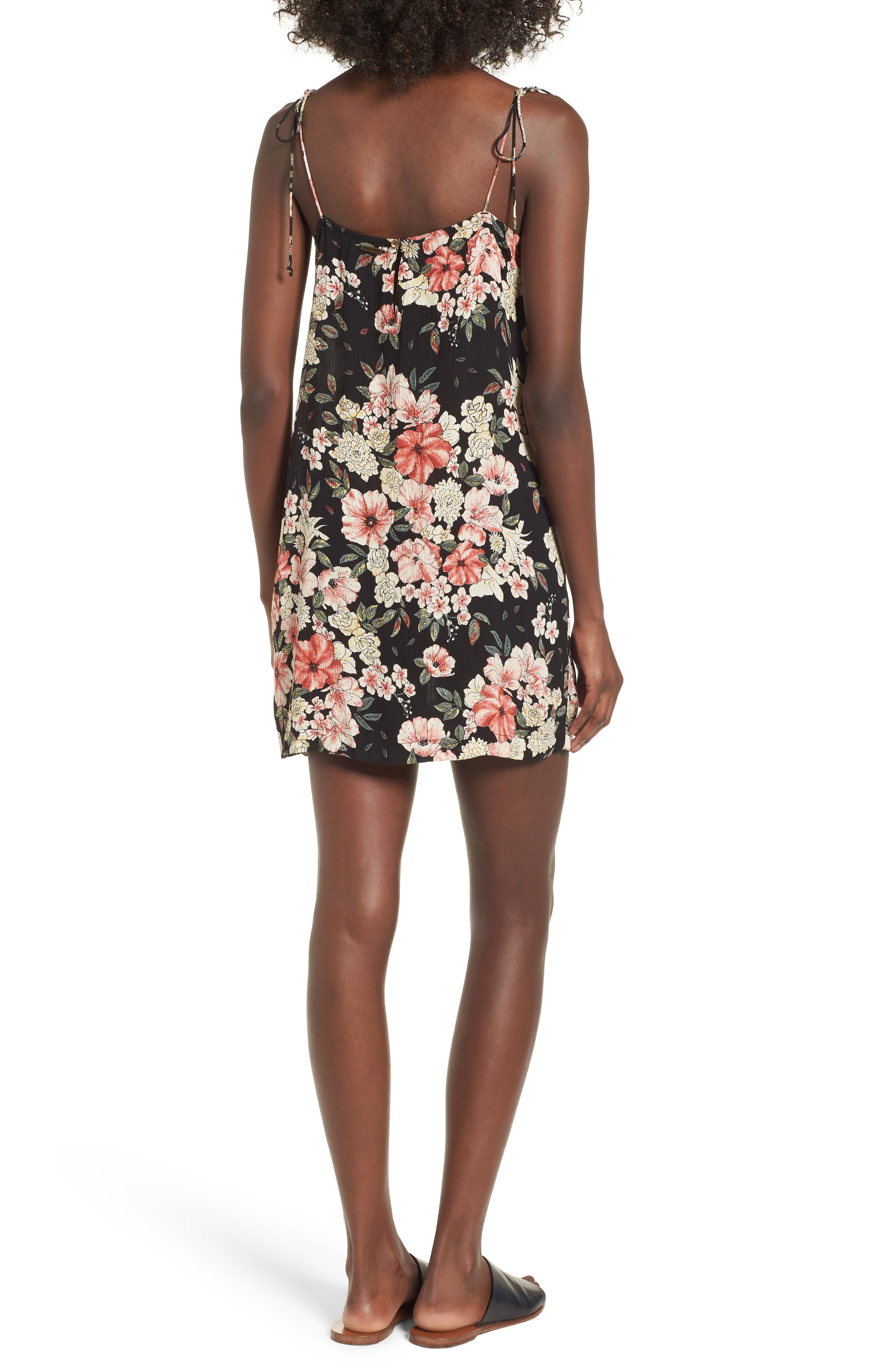 Nights Out Floral Slipdress,                             Alternate thumbnail 2, color,                             Black
