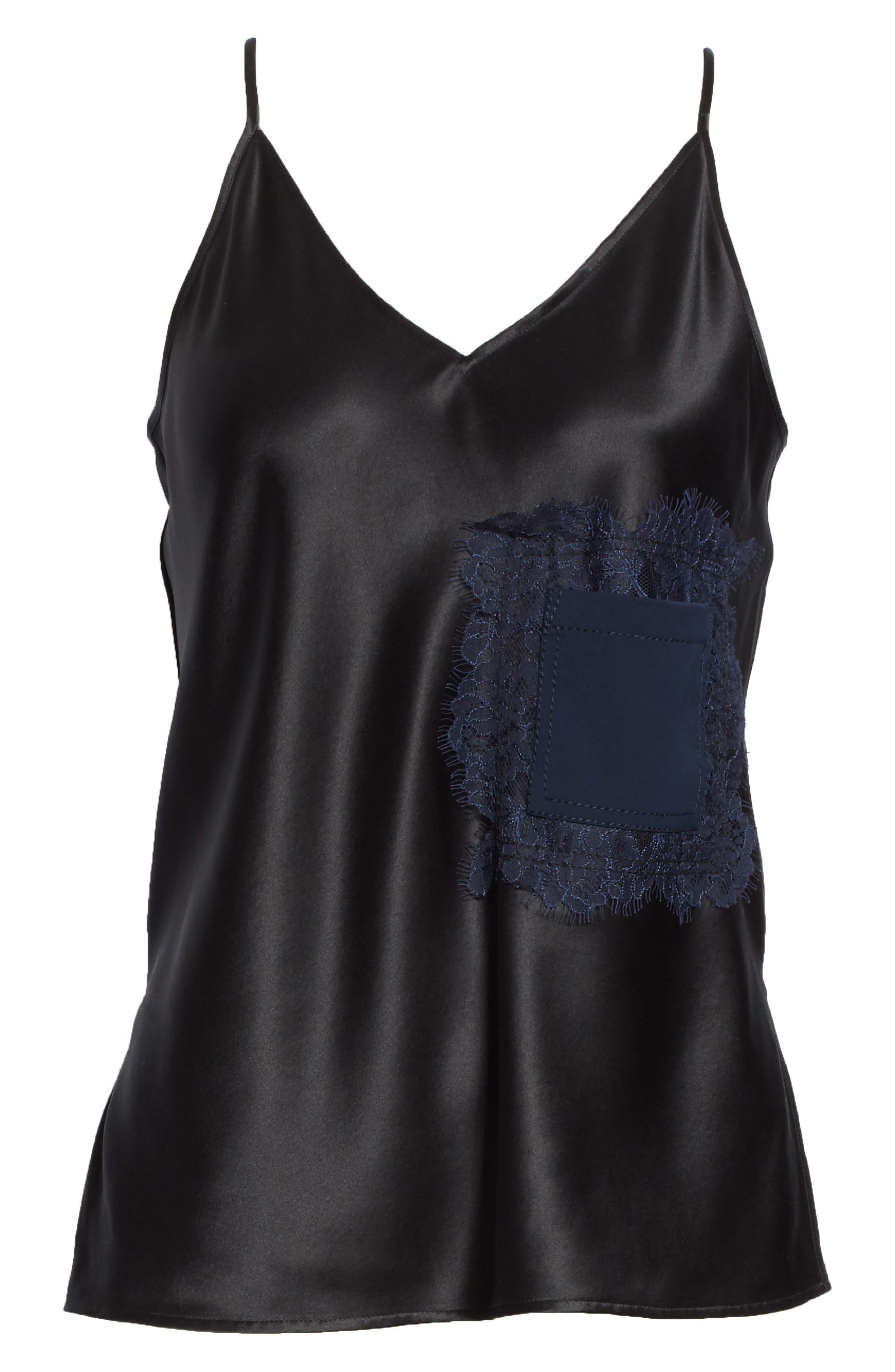 Claire Lace Pocket Camisole,                             Alternate thumbnail 6, color,                             Black