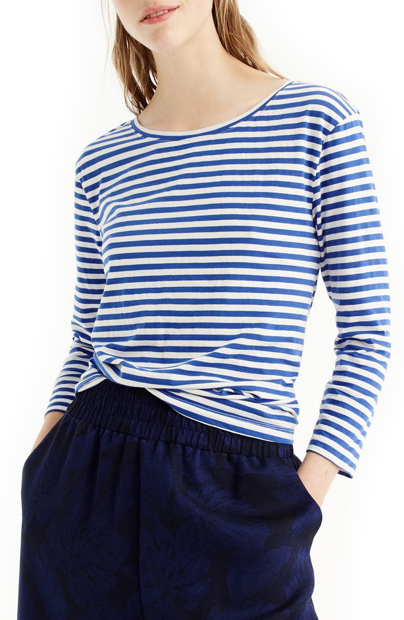 Stripe Twist Back Tee,                             Main thumbnail 1, color,                             Bright Ocean Ivory