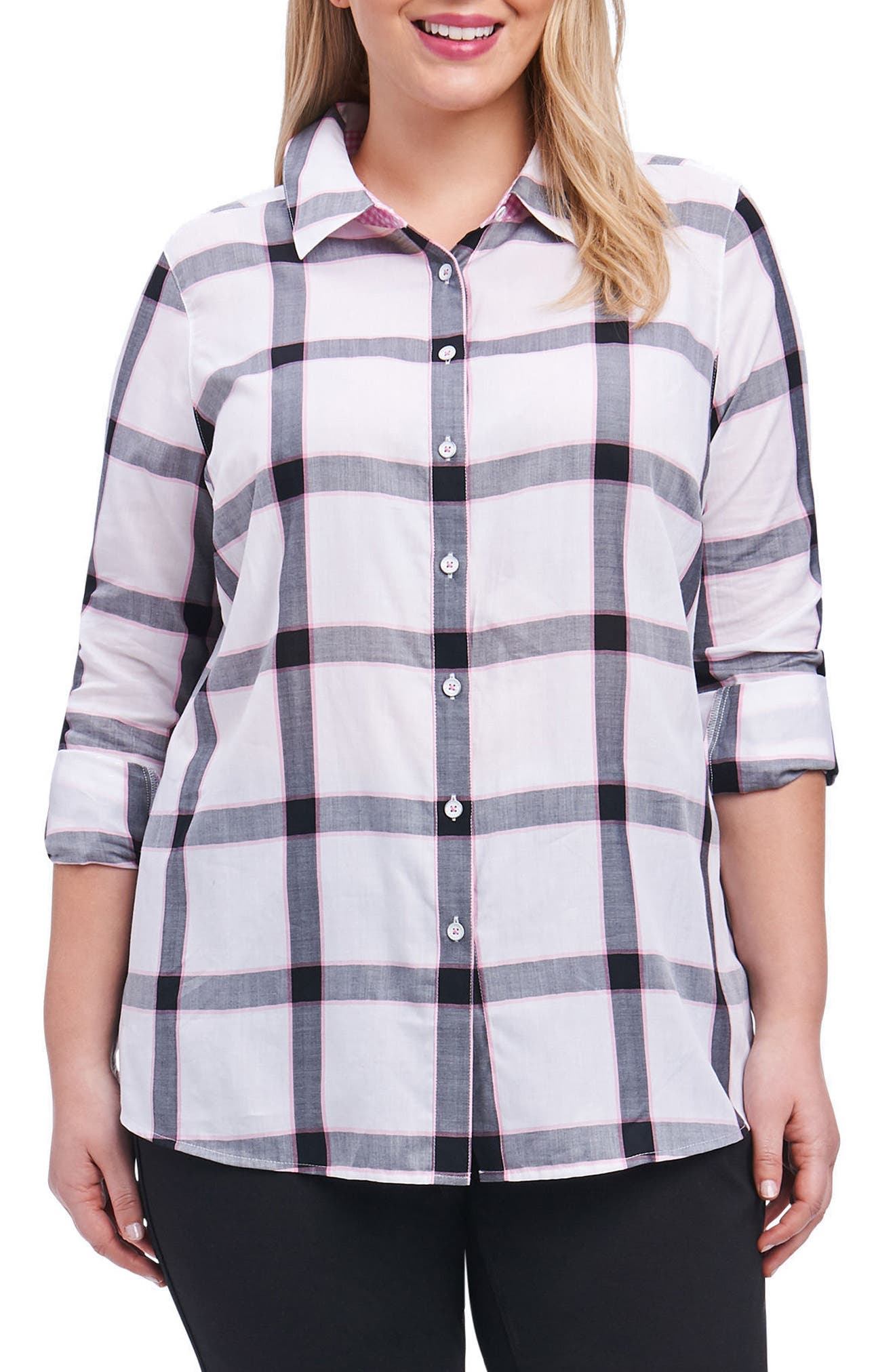 Alternate Image 1 Selected - Foxcroft Zoey Herringbone Plaid Shirt (Plus Size)