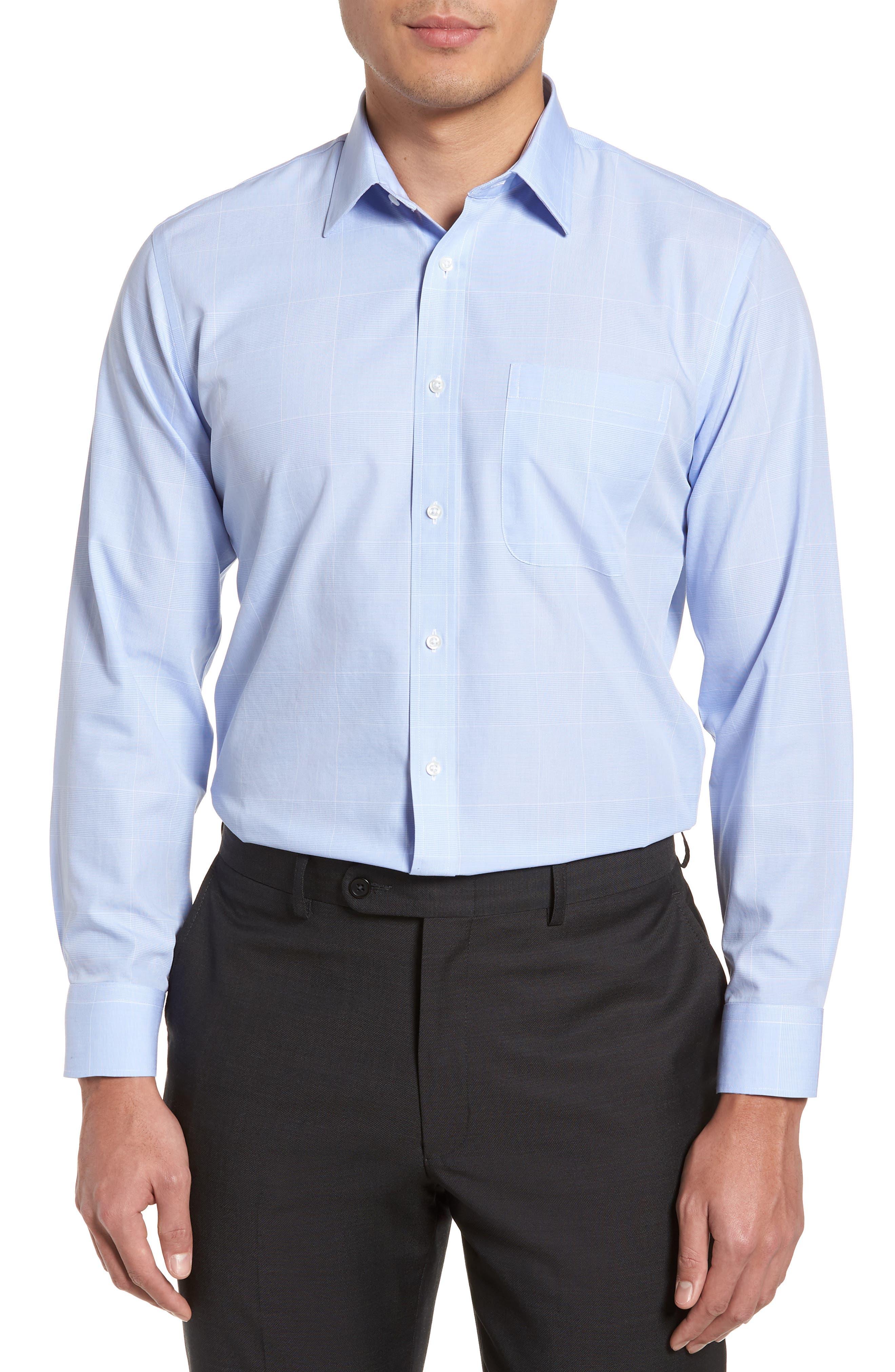 Smartcare<sup>™</sup> Trim Fit Plaid Dress Shirt,                         Main,                         color, Blue Hydrangea