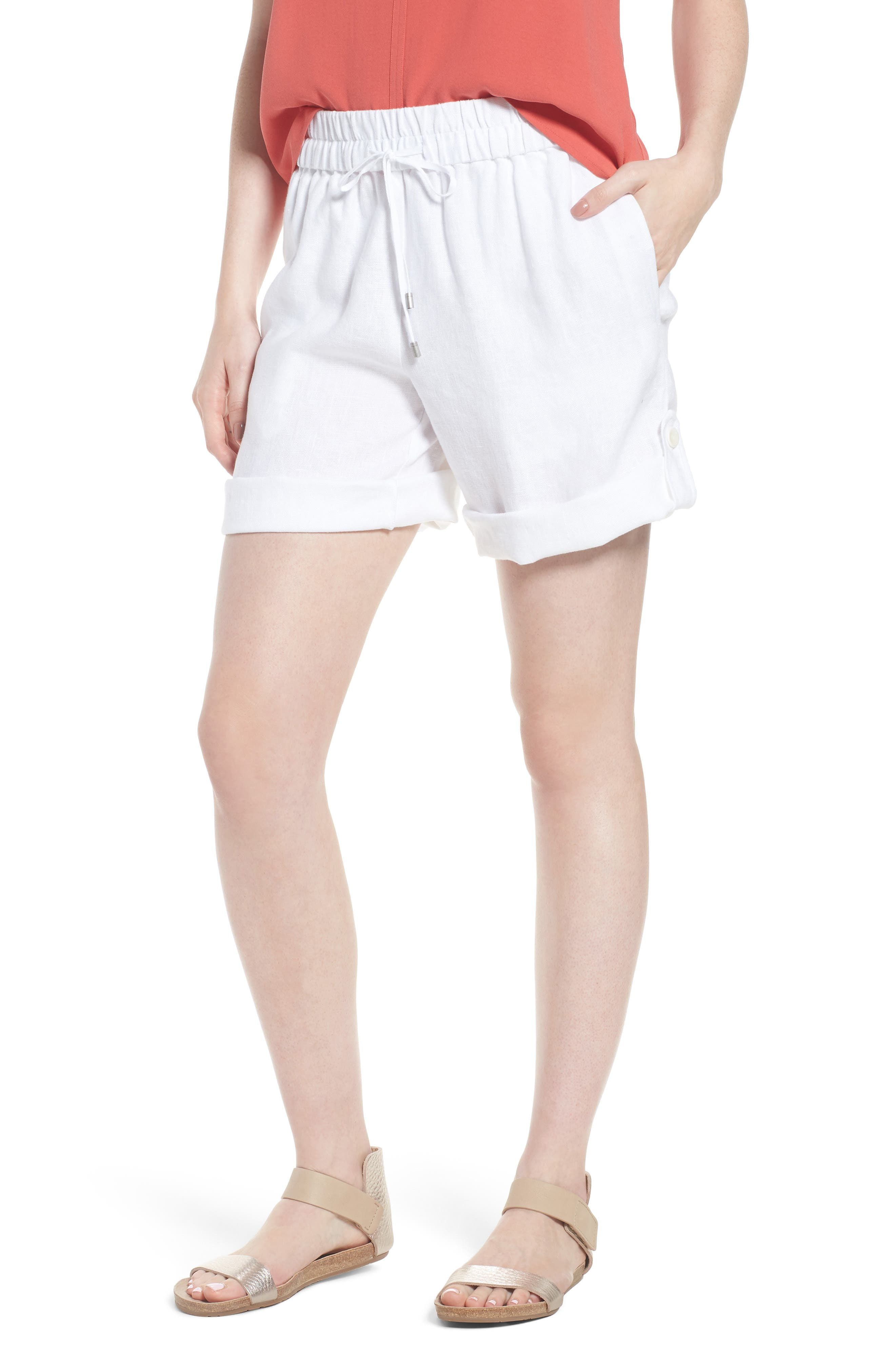 Rolled Organic Linen Shorts,                         Main,                         color, White