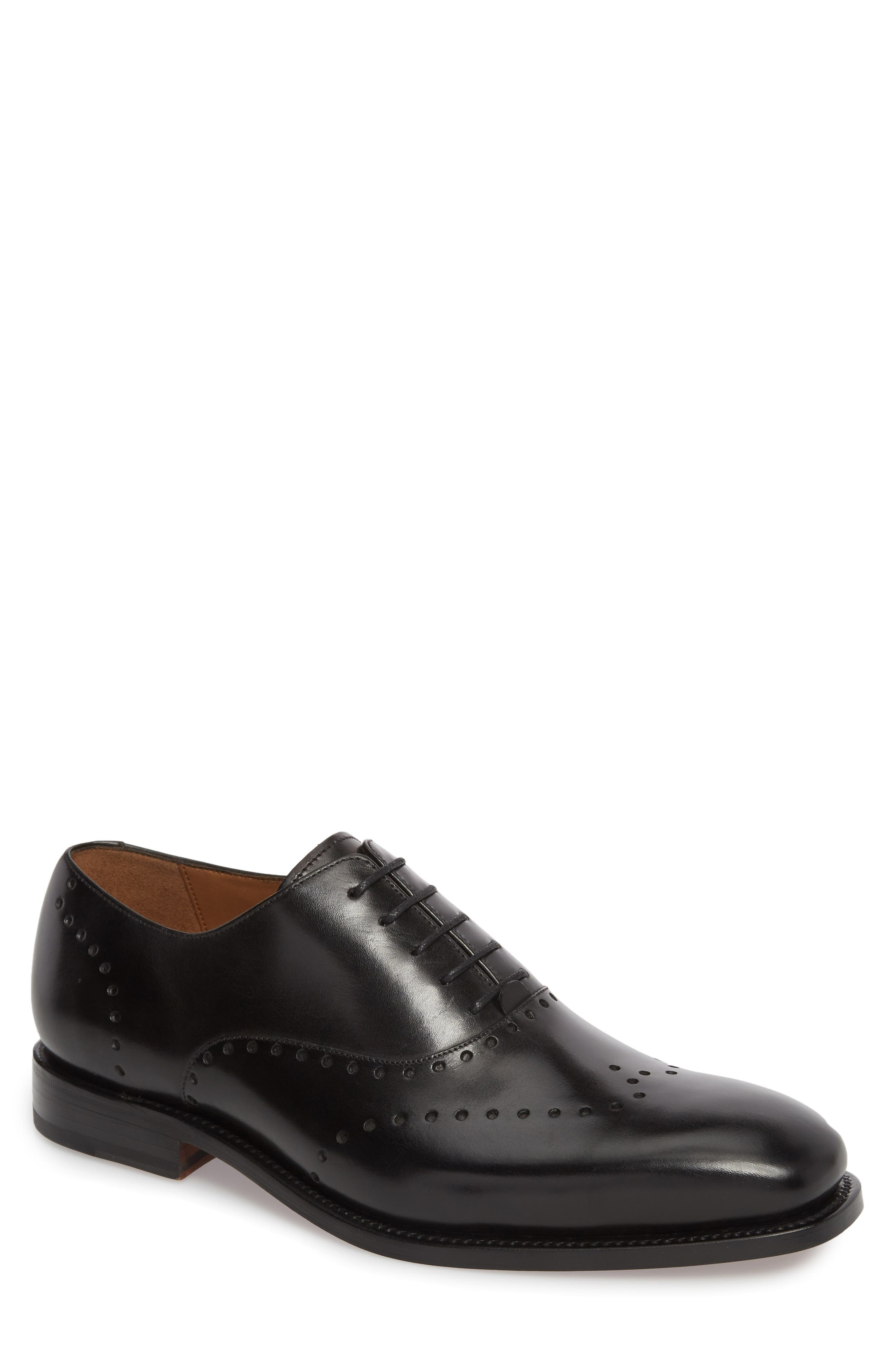 Belvedere Perforated Wingtip Oxford,                         Main,                         color, Black