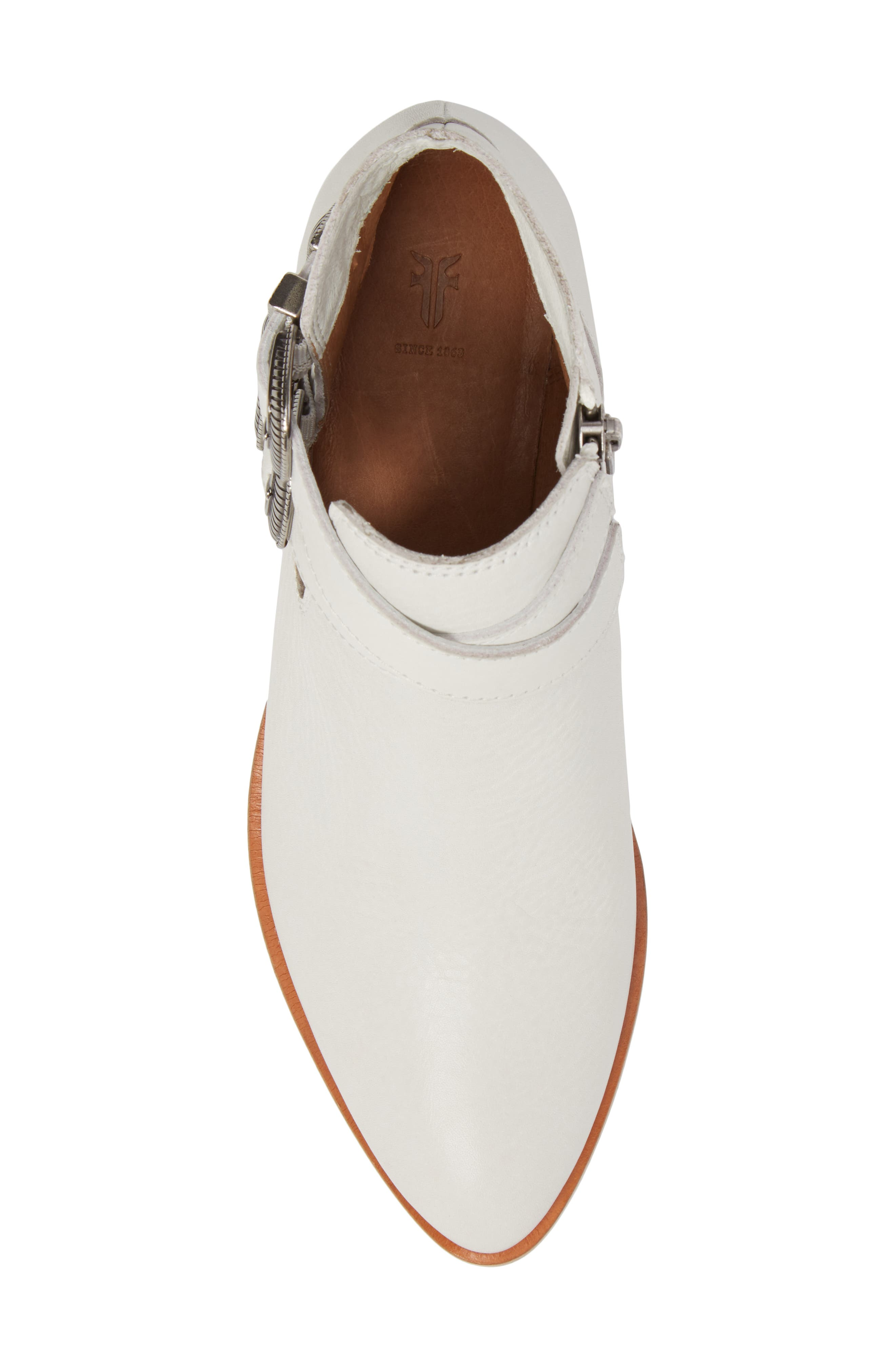 Ray Western Bootie,                             Alternate thumbnail 5, color,                             White/ White Leather