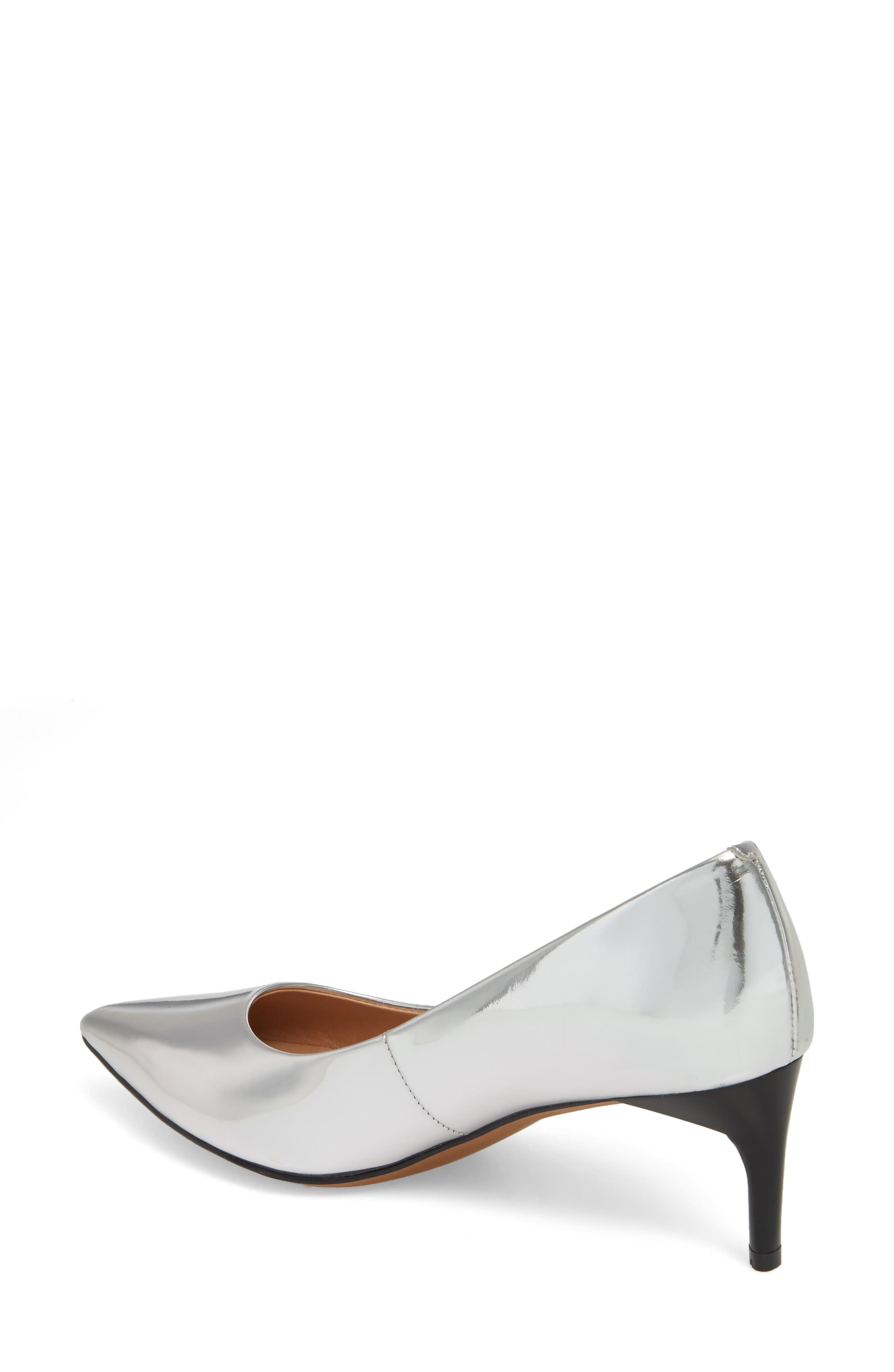 Petra Pointy Toe Pump,                             Alternate thumbnail 2, color,                             Silver Leather