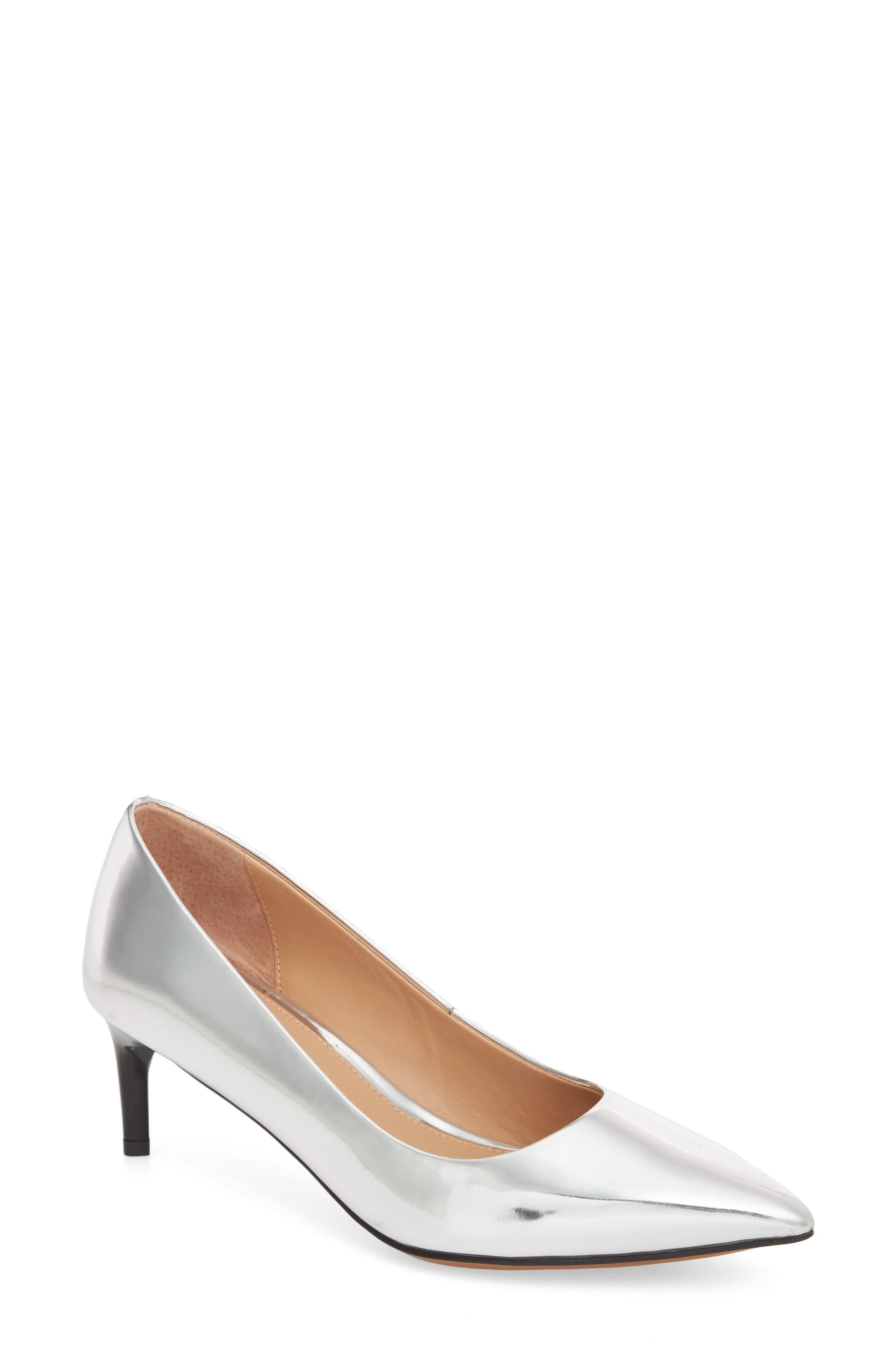 Petra Pointy Toe Pump,                         Main,                         color, Silver Leather