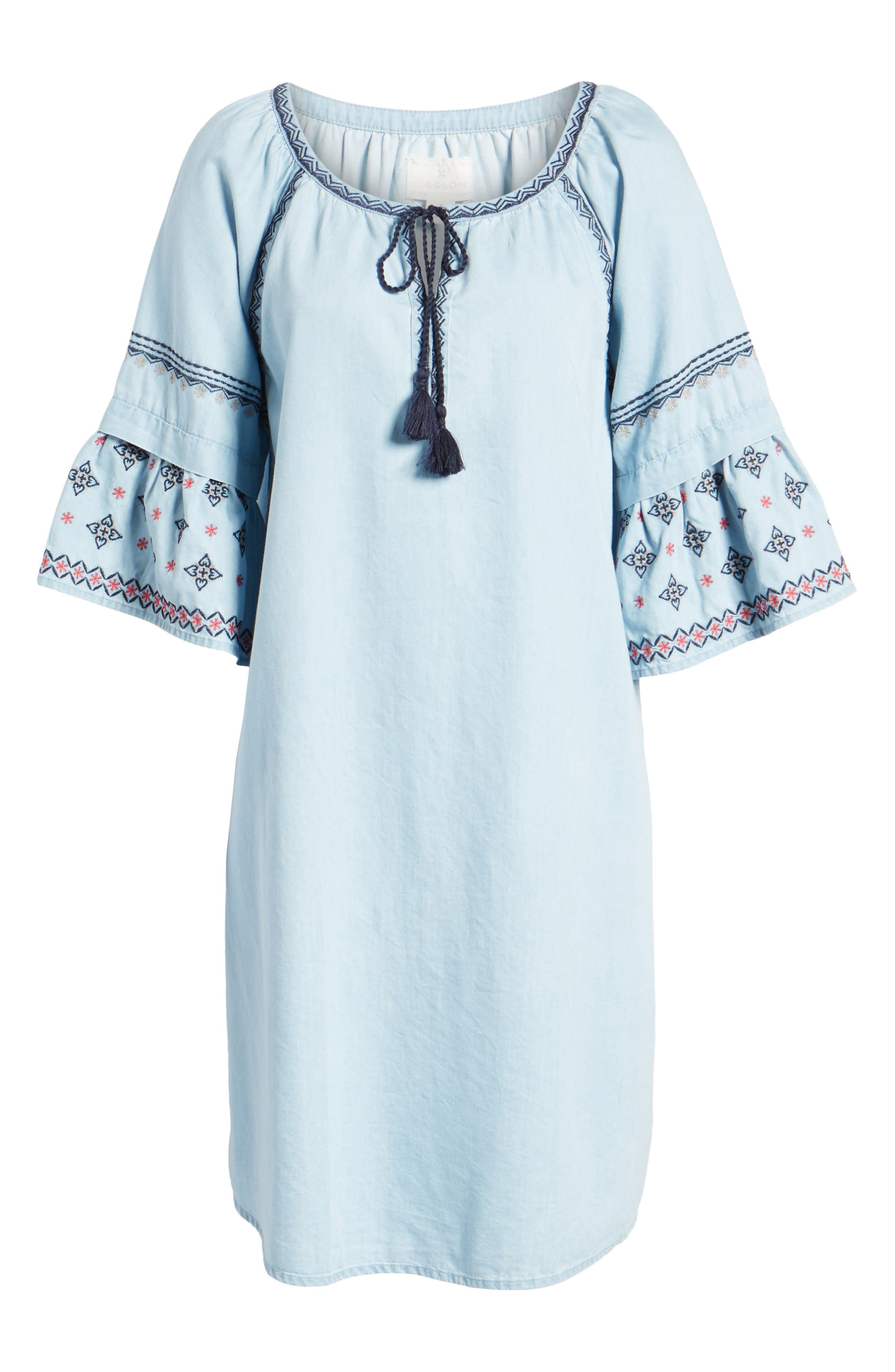 Embroidered Chambray Shift,                             Alternate thumbnail 6, color,                             Spectrum Wash