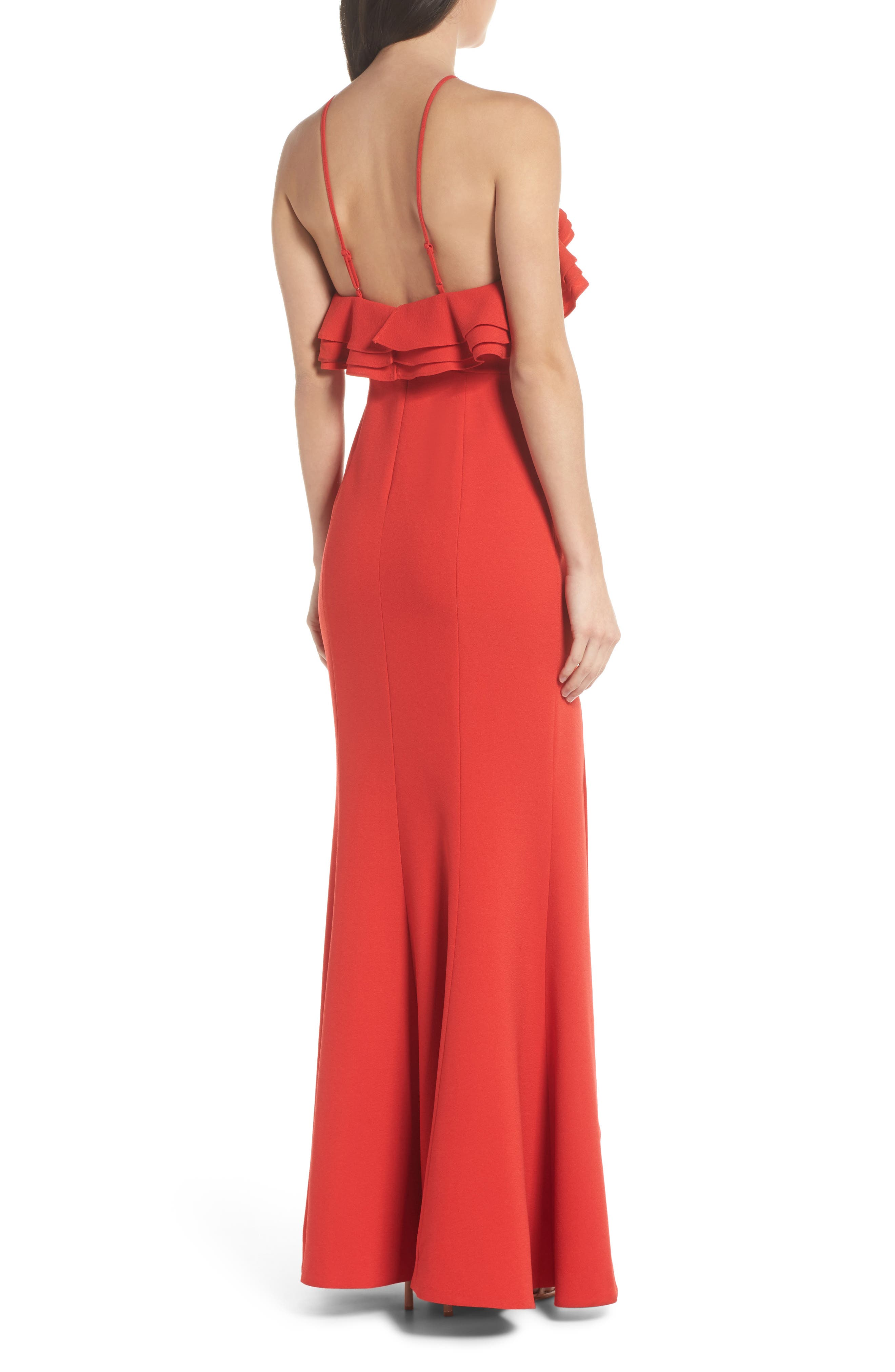 Ruffle Halter Gown,                             Alternate thumbnail 2, color,                             Cherry