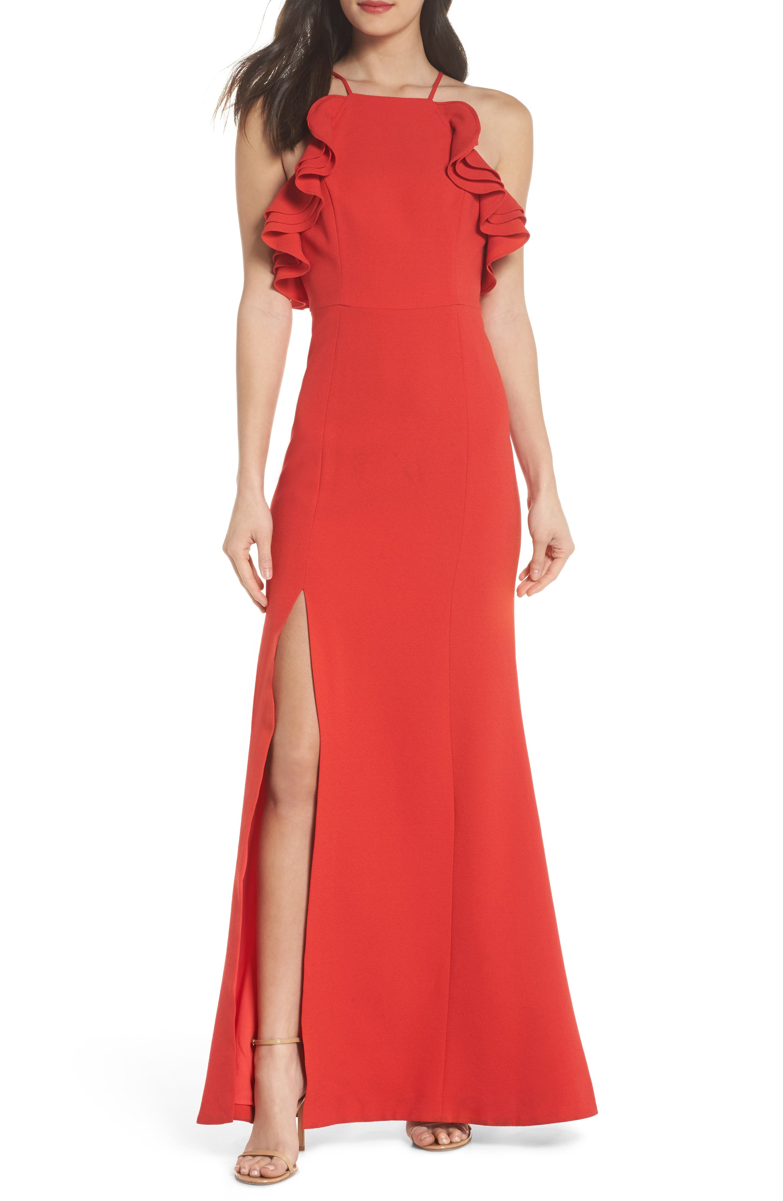 Ruffle Halter Gown,                         Main,                         color, Cherry