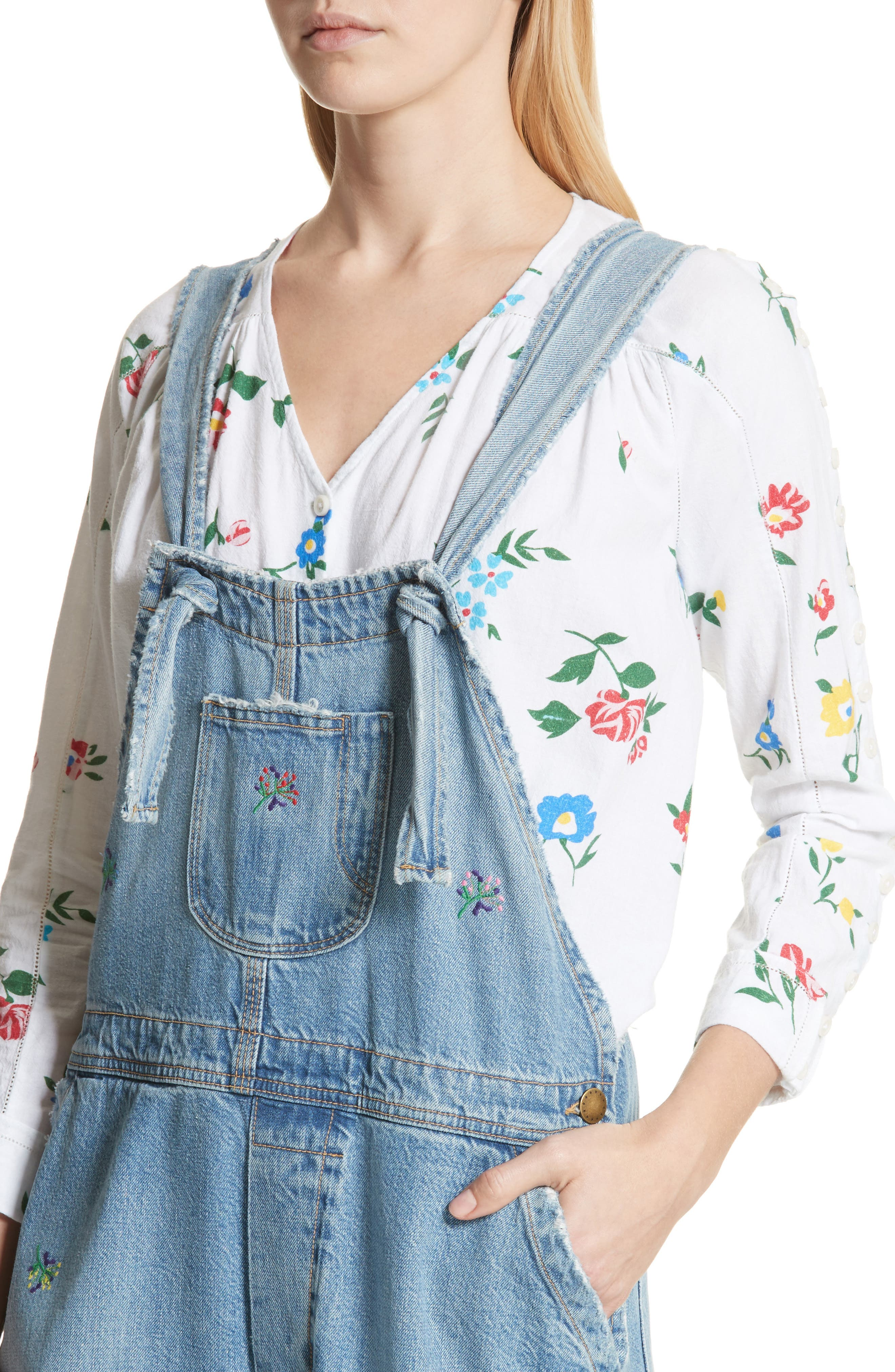 The Shop Embroidered Overalls,                             Alternate thumbnail 5, color,                             Canteen Wash W/ Flower Emb
