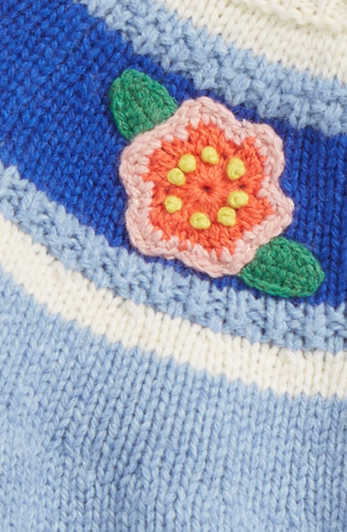 Alternate Image 2  - Mini Boden Crochet Flower Cardigan (Baby Girls & Toddler Girls)