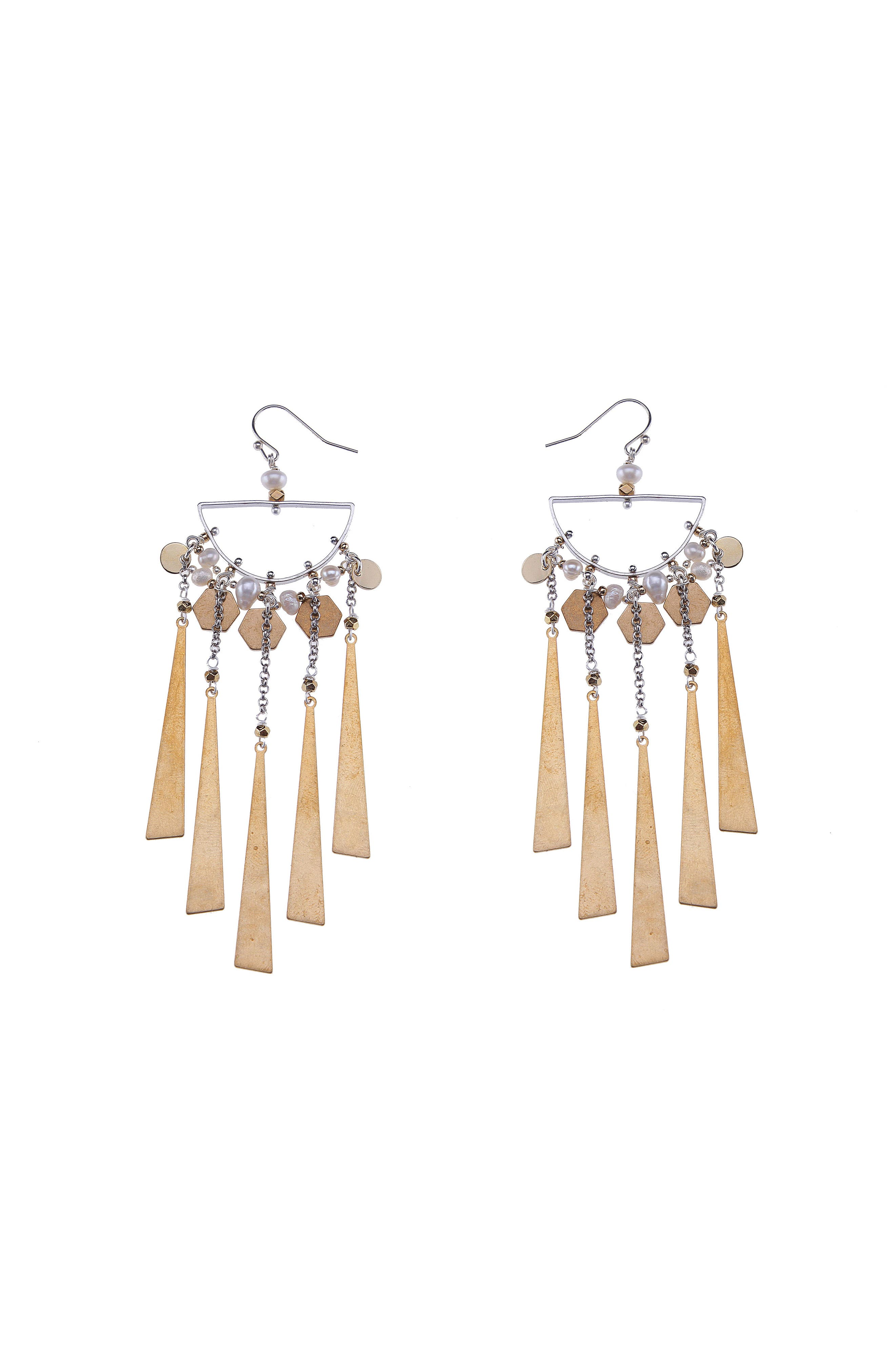 Freshwater Pearl & Metal Fringe Statement Earrings,                             Main thumbnail 1, color,                             Gold/ Silver