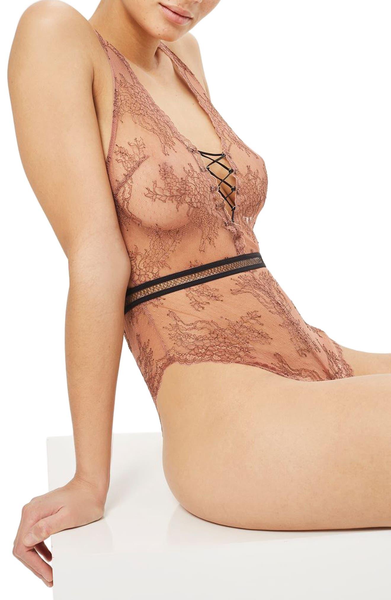 Alternate Image 2  - Topshop Lila Lace-Up Bodysuit