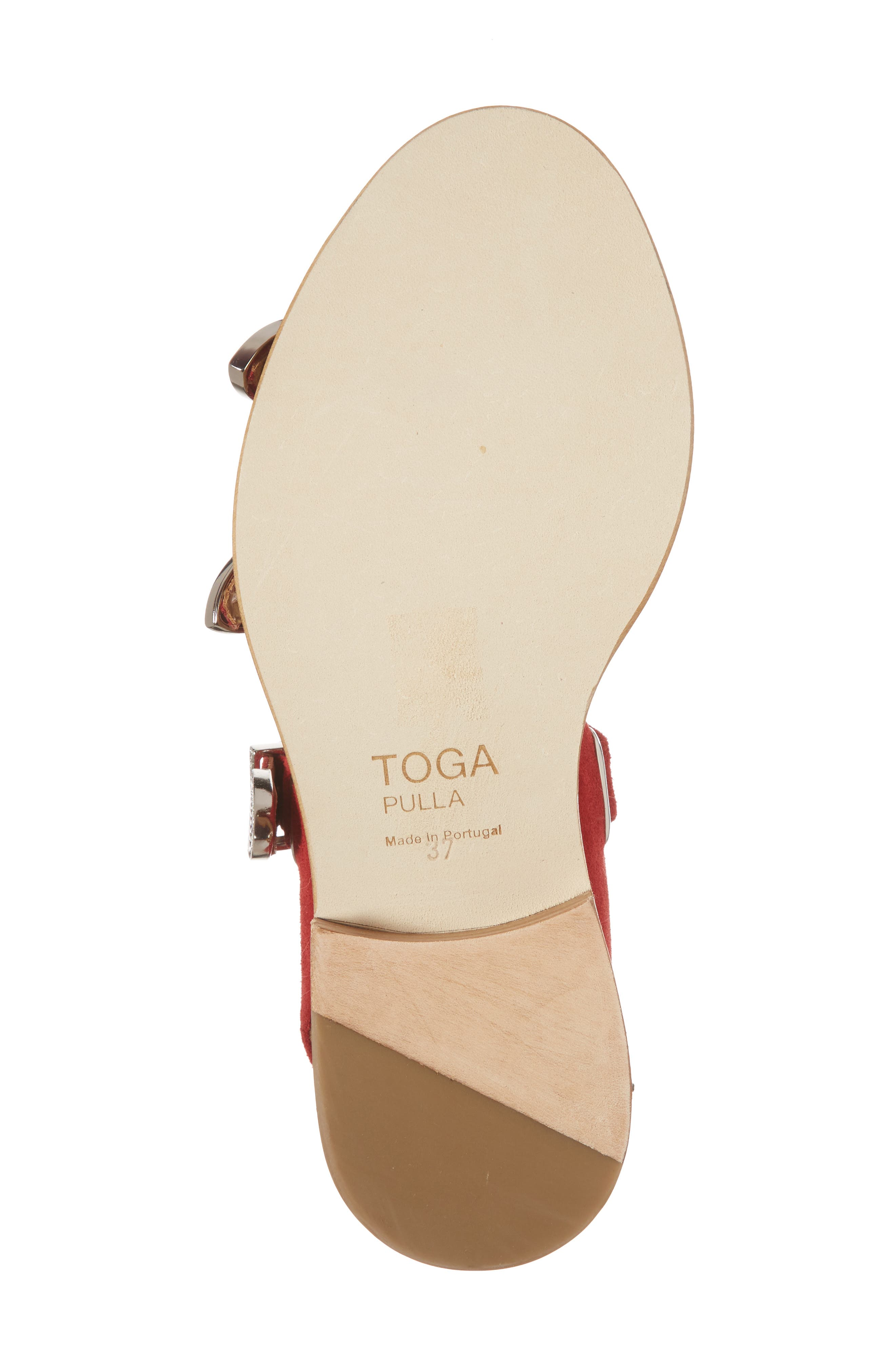 Western Suede Strappy Sandal,                             Alternate thumbnail 6, color,                             Red Suede