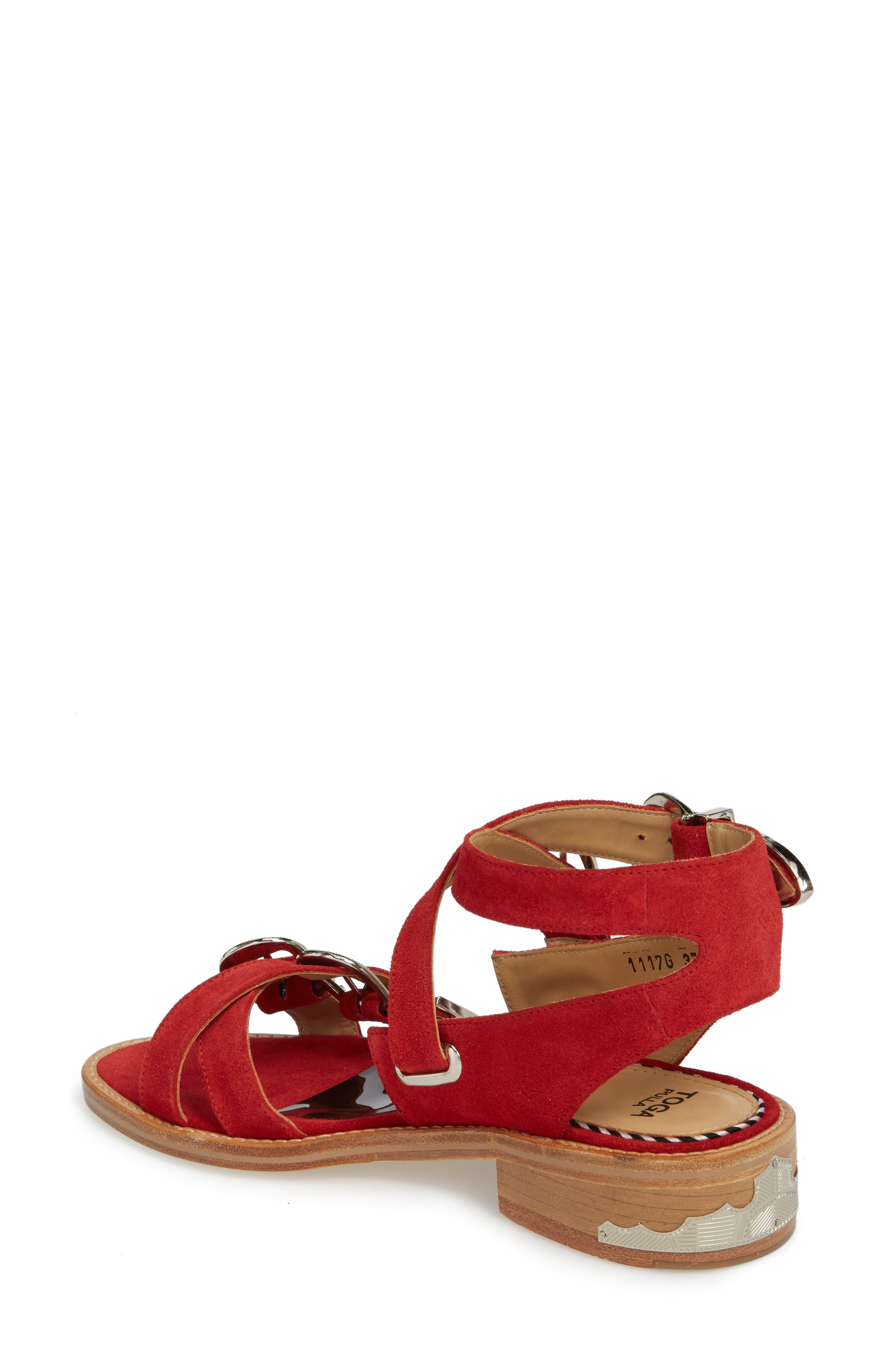 Western Suede Strappy Sandal,                             Alternate thumbnail 2, color,                             Red Suede
