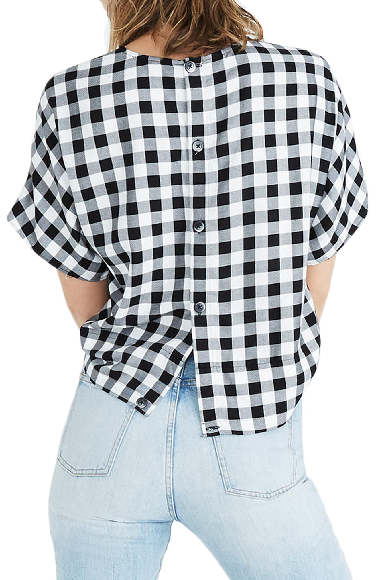 Alternate Image 2  - Madewell Buffalo Check Button Back Tie Top