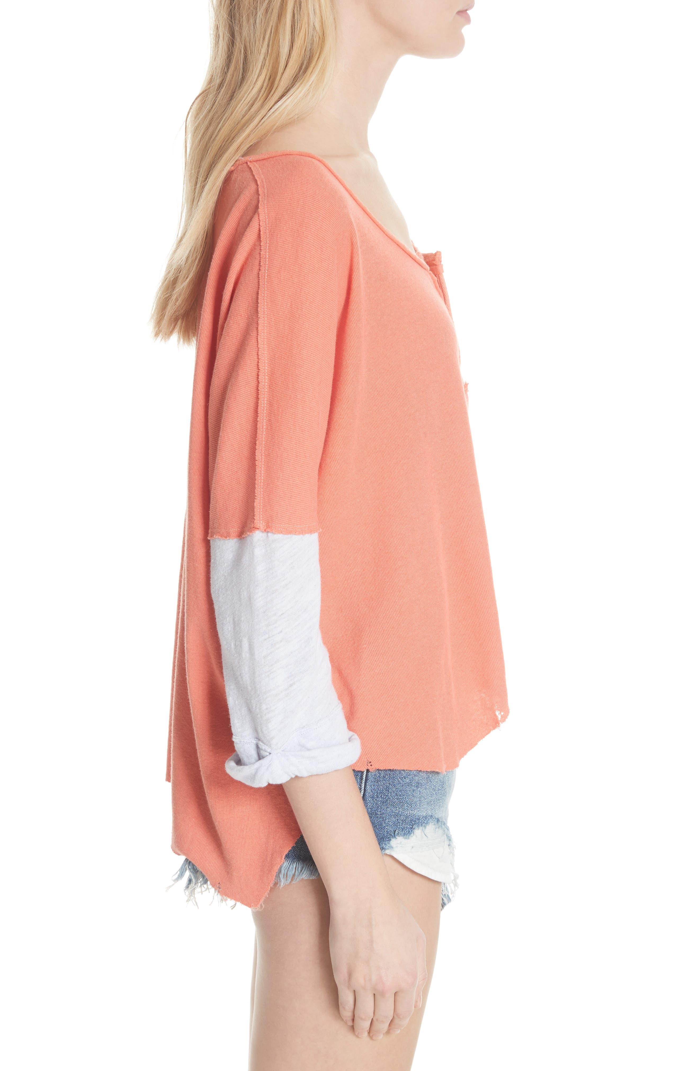 We the Free Star Henley Top,                             Alternate thumbnail 3, color,                             Coral
