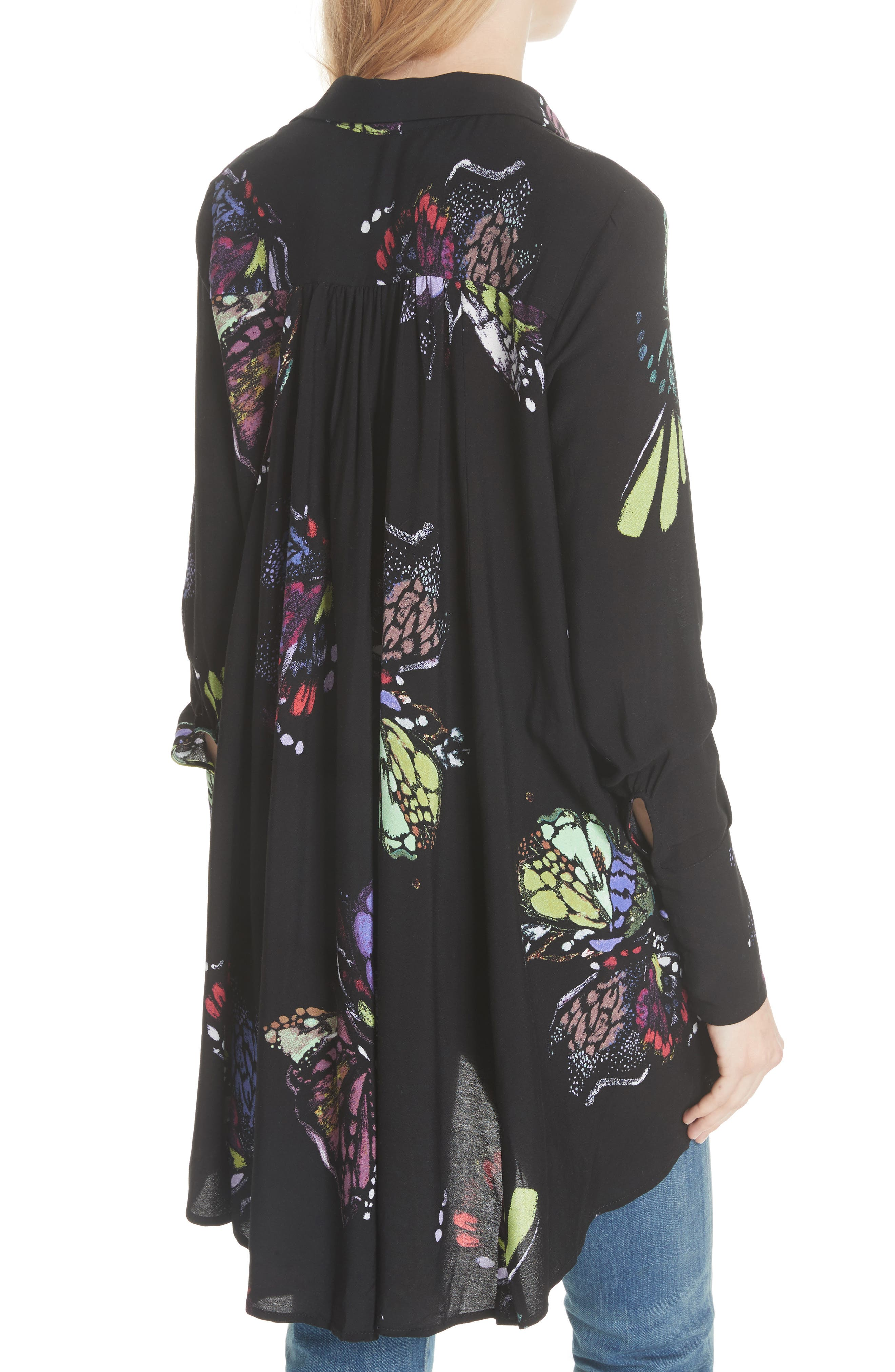 Field of Butterflies Tunic,                             Alternate thumbnail 2, color,                             Black
