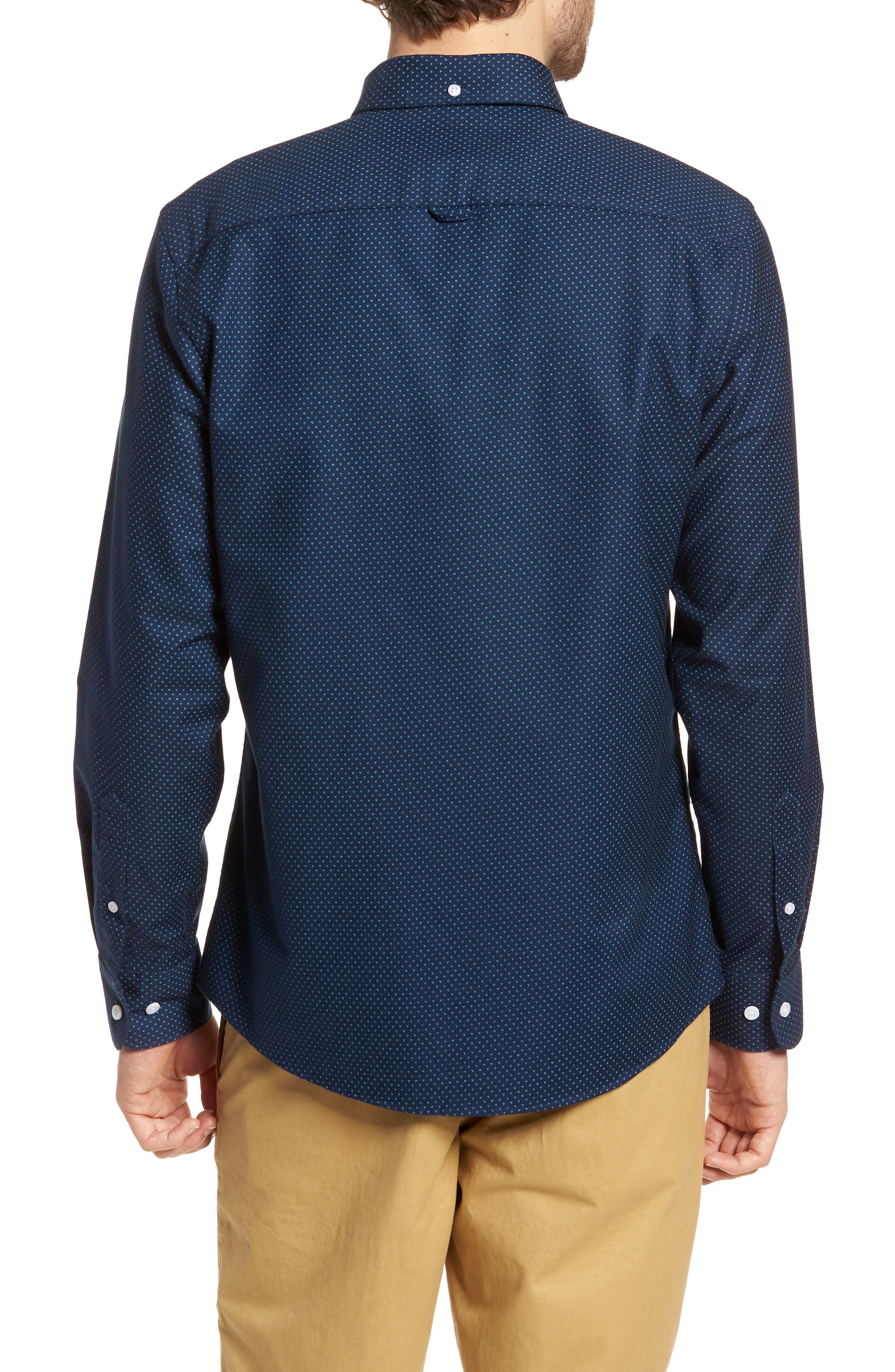 Trim Fit Print Washed Oxford Sport Shirt,                             Alternate thumbnail 2, color,                             Navy Night Triple Dot