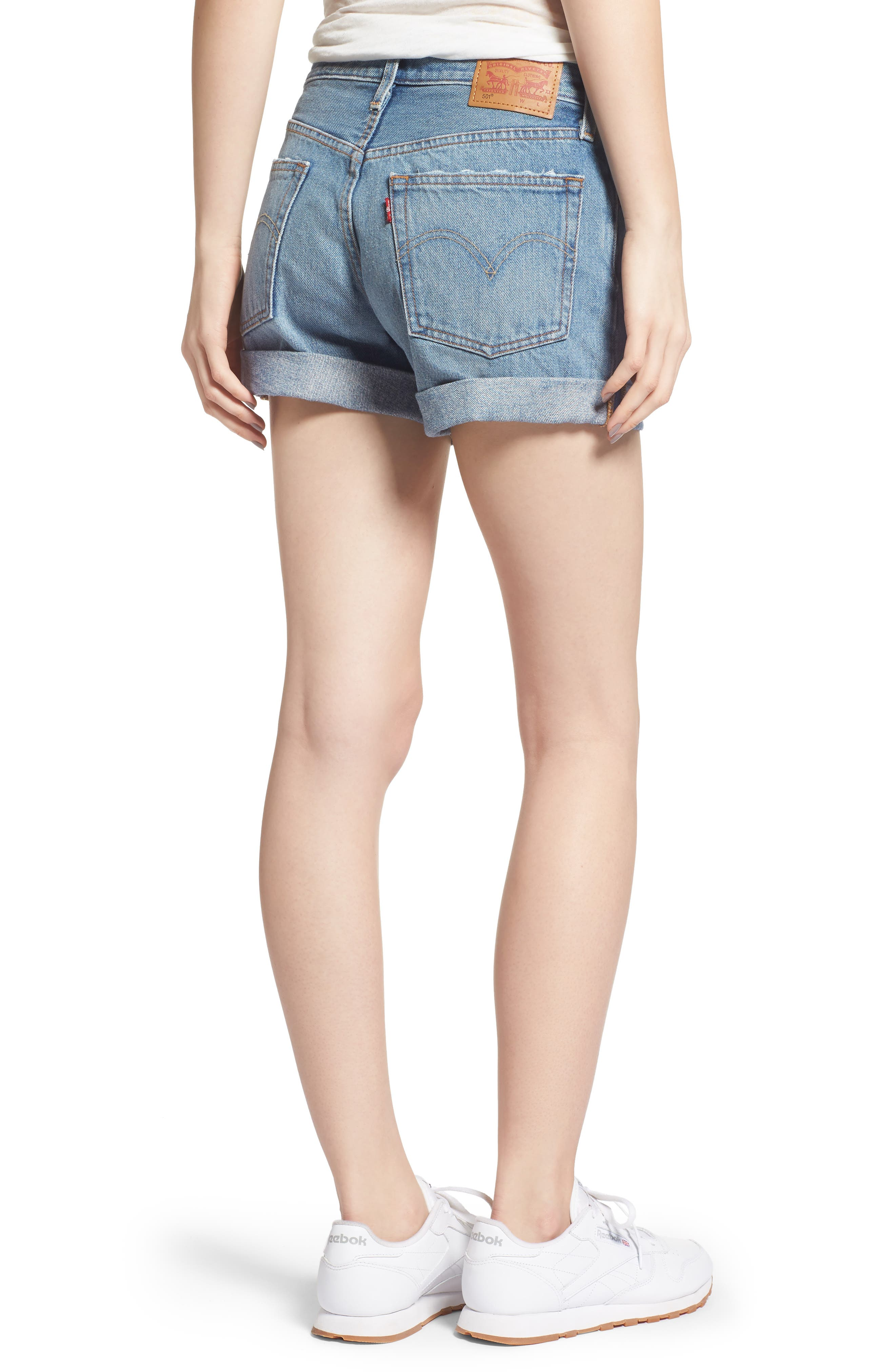Alternate Image 2  - Levi's® 501® Long Denim Shorts (Highways & Biways)