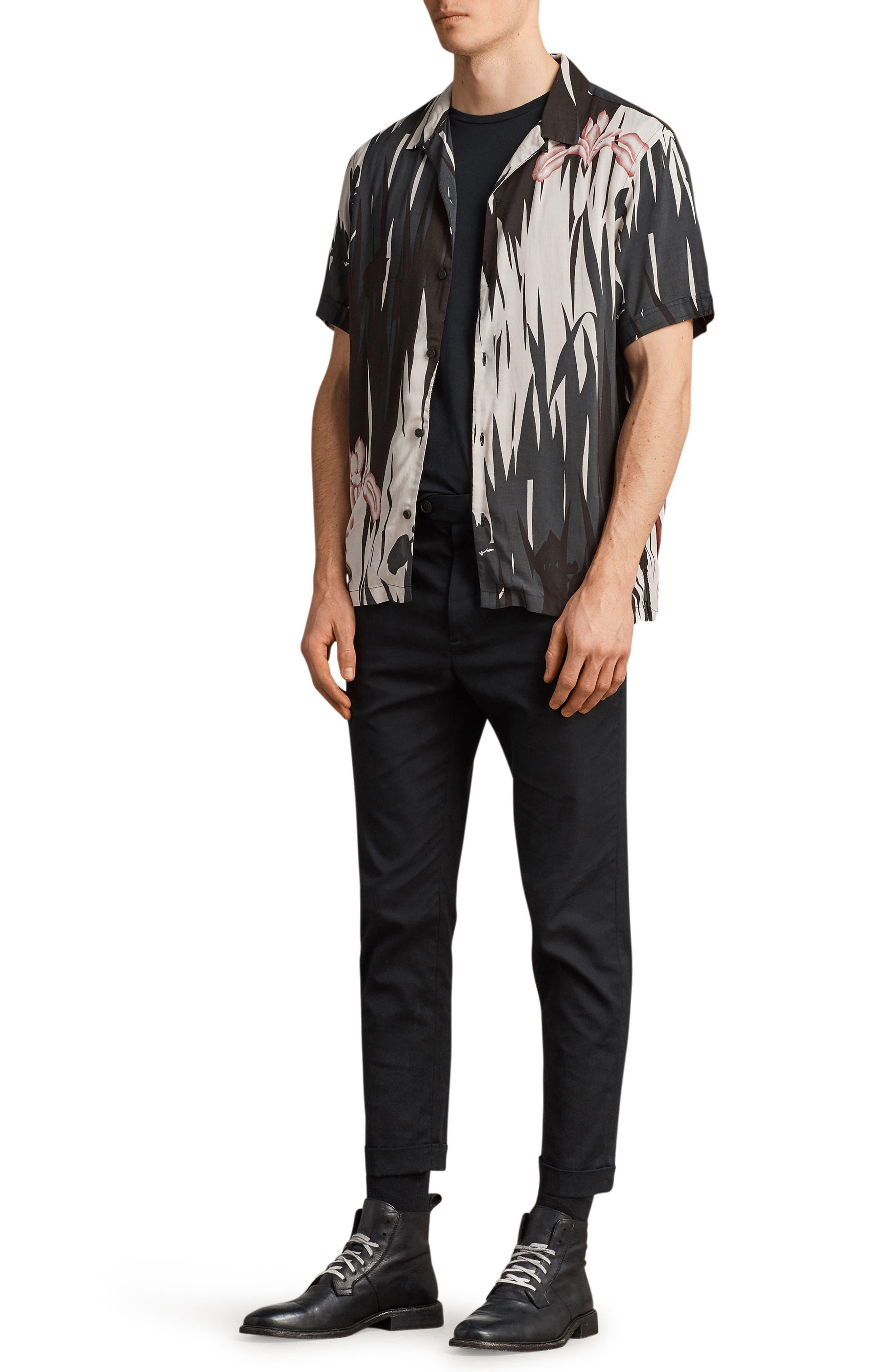 Nahiku Slim Fit Sport Shirt,                             Alternate thumbnail 4, color,                             Black