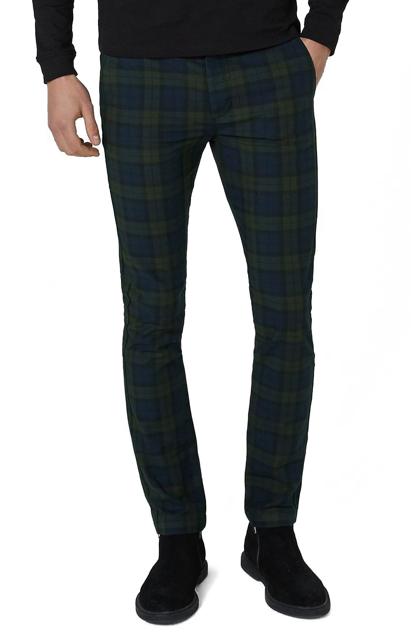 Black Watch Check Stretch Skinny Fit Trousers,                         Main,                         color, Green Multi