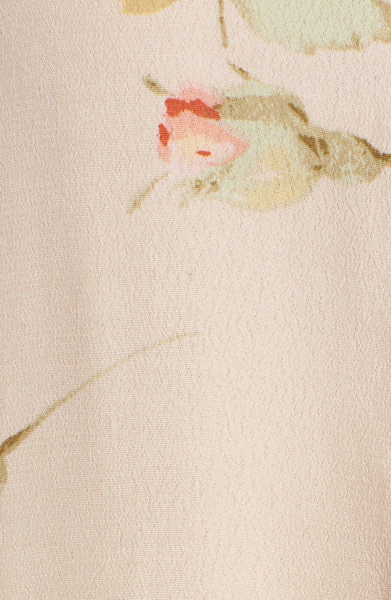 Sinclair Floral Print Shirt,                             Alternate thumbnail 5, color,                             Taupe Multi