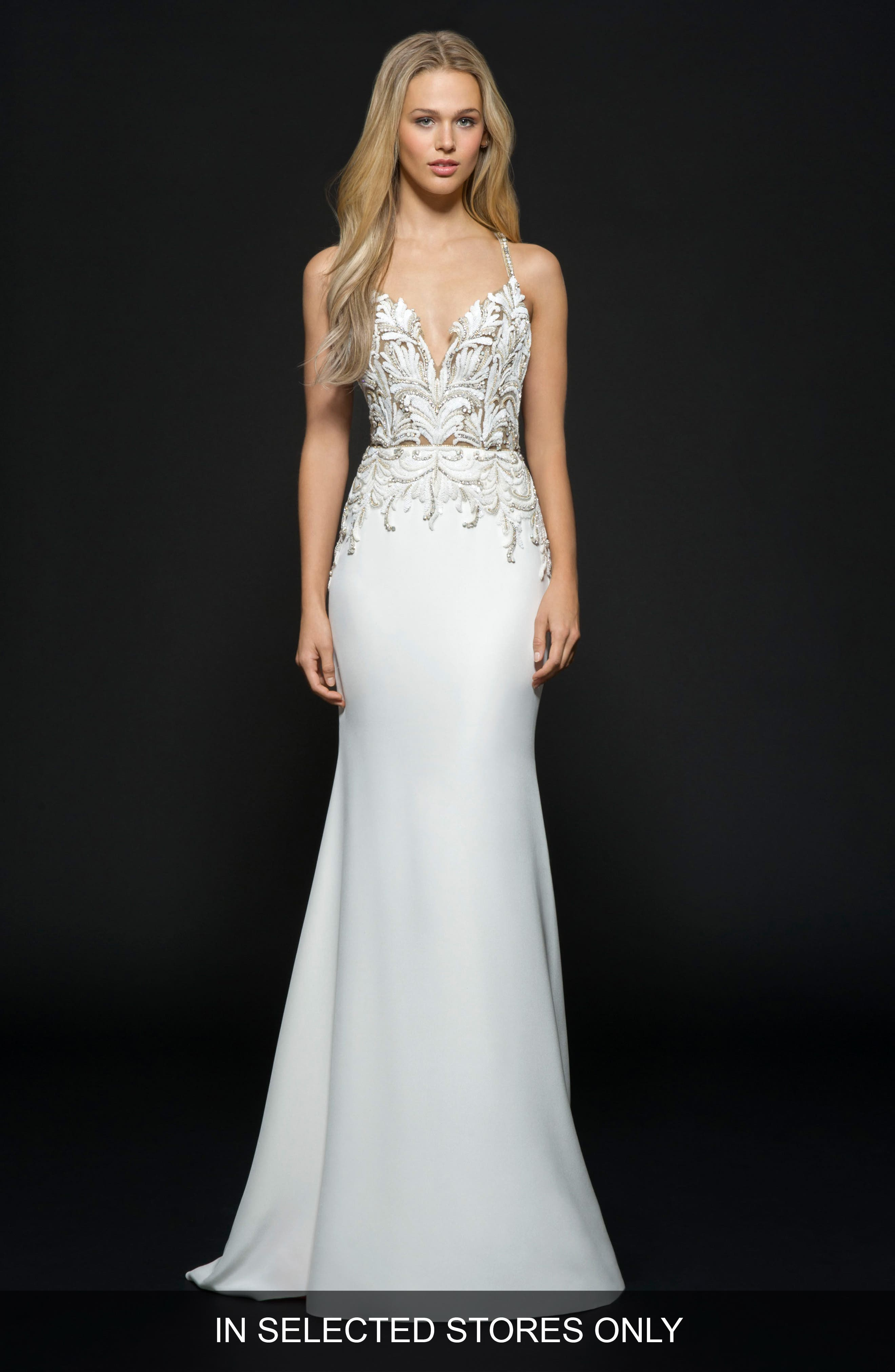 Edie Silk Crepe Trumpet Gown,                         Main,                         color, Ivory