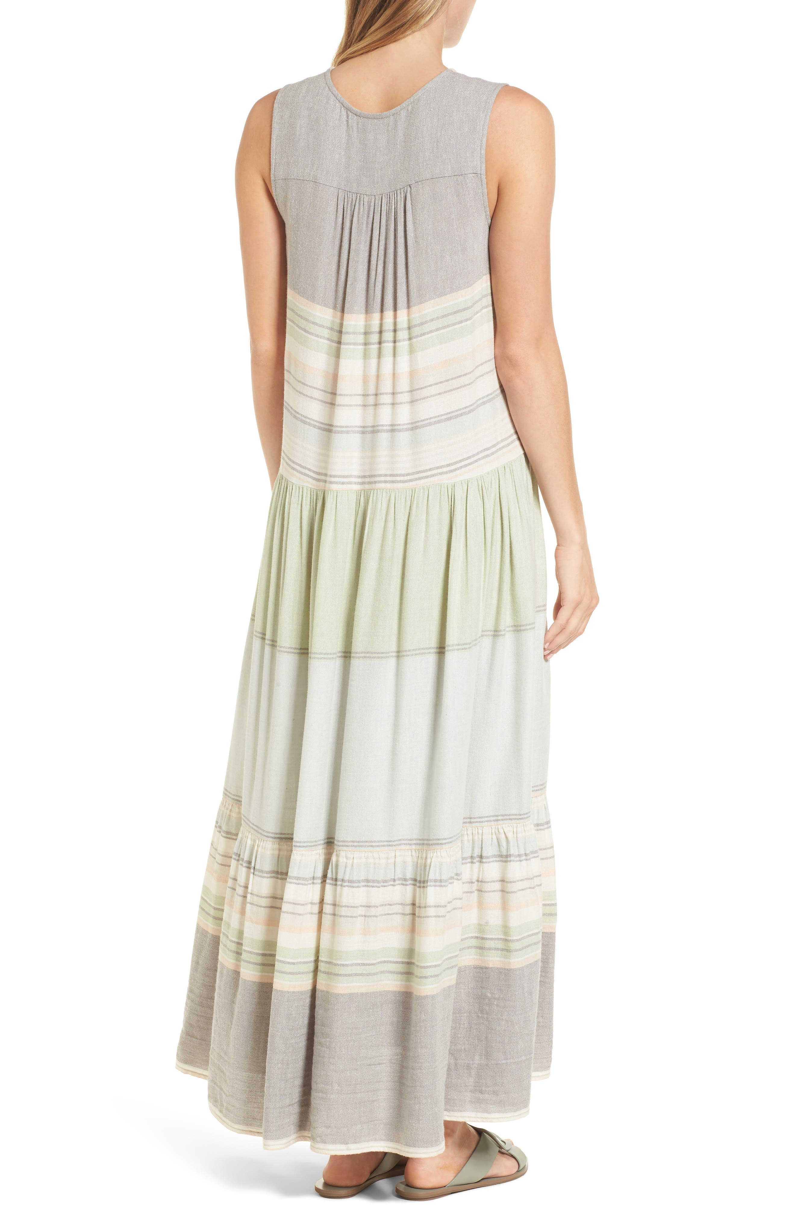 Multi Stripe Woven Maxi Dress,                             Alternate thumbnail 2, color,                             Green- Grey Vallis Stripe