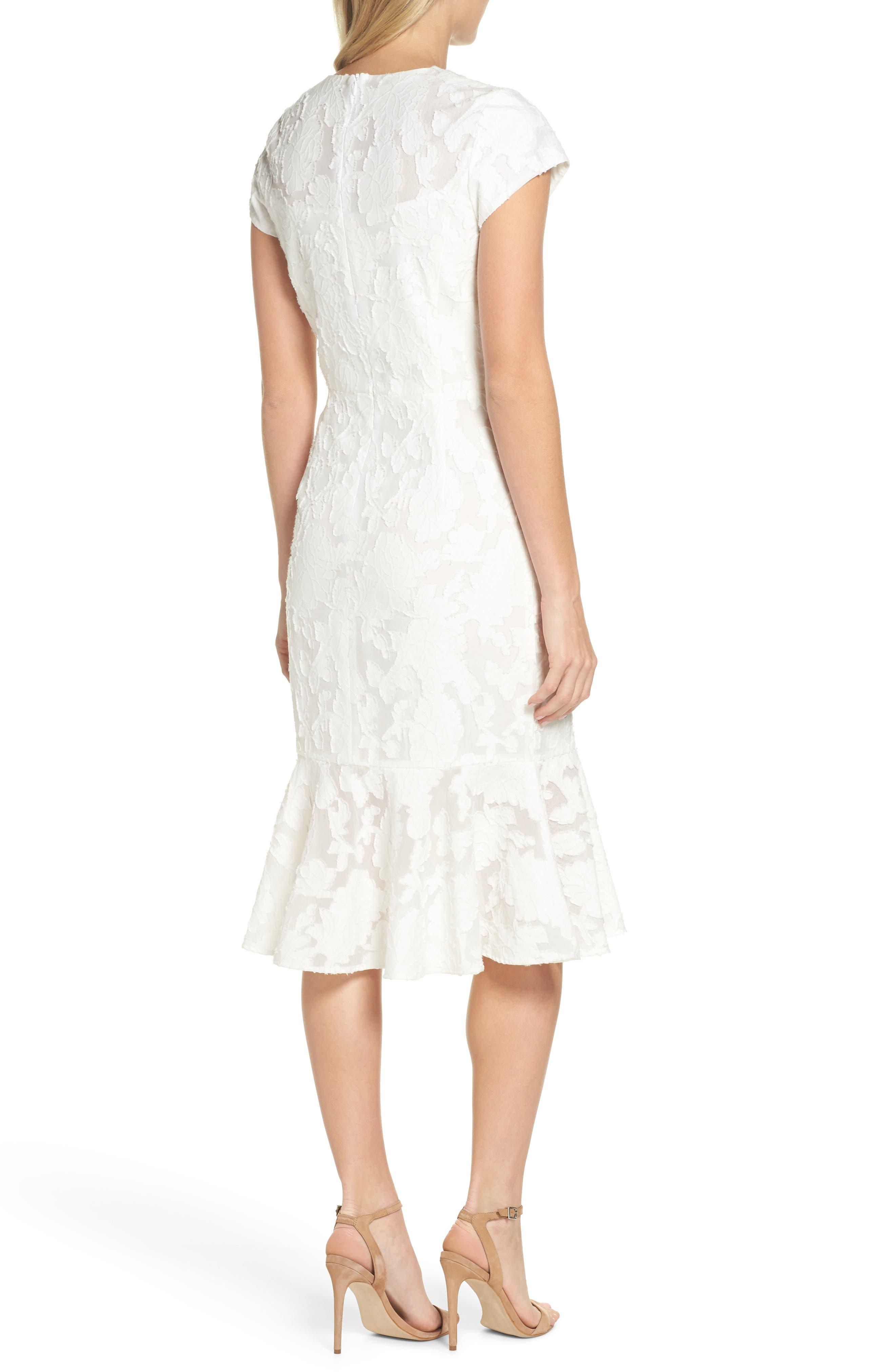 Lace Flare Hem Midi Dress,                             Alternate thumbnail 2, color,                             White