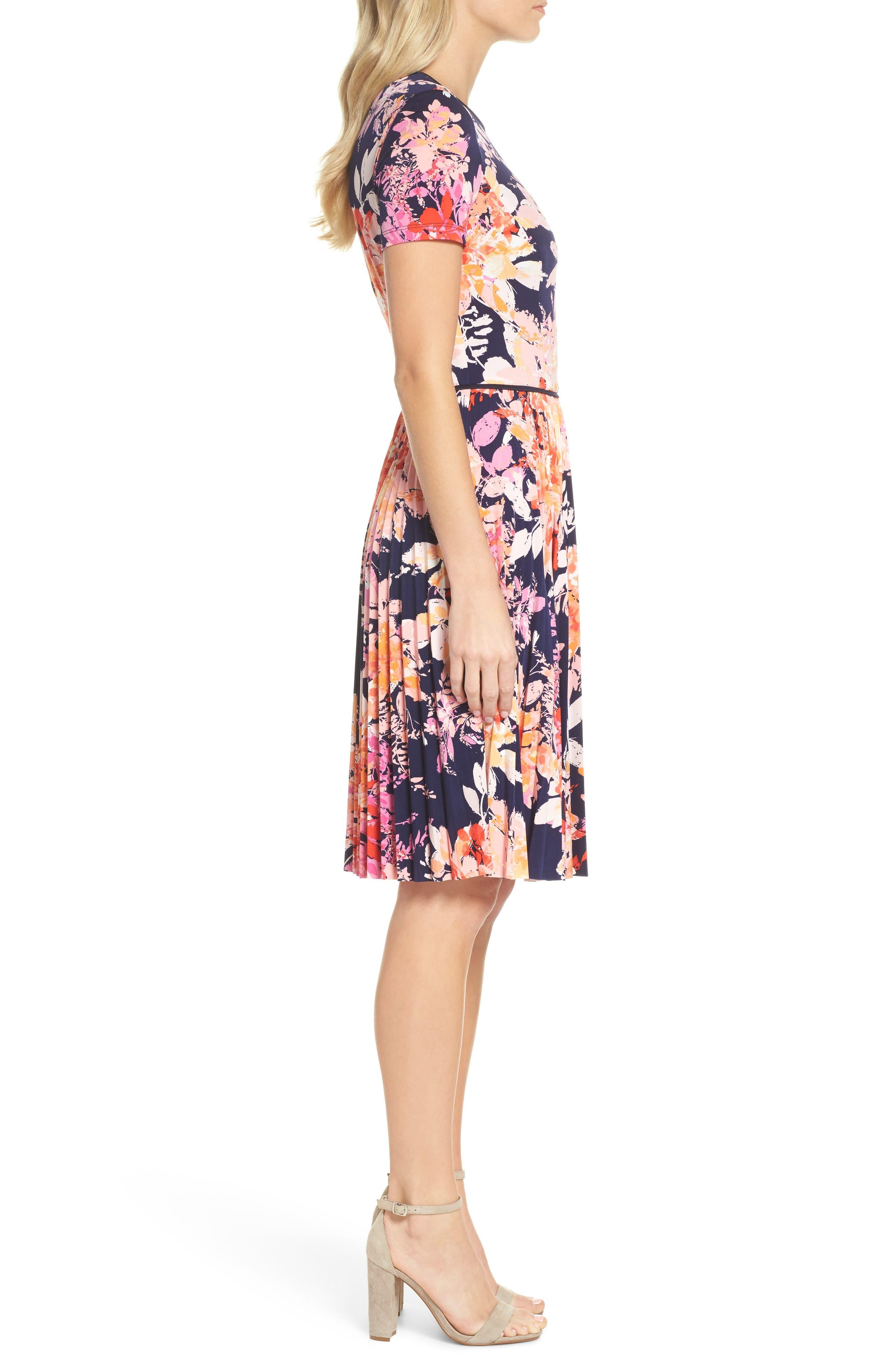 Pleat Fit & Flare Dress,                             Alternate thumbnail 3, color,                             Navy/ Orange