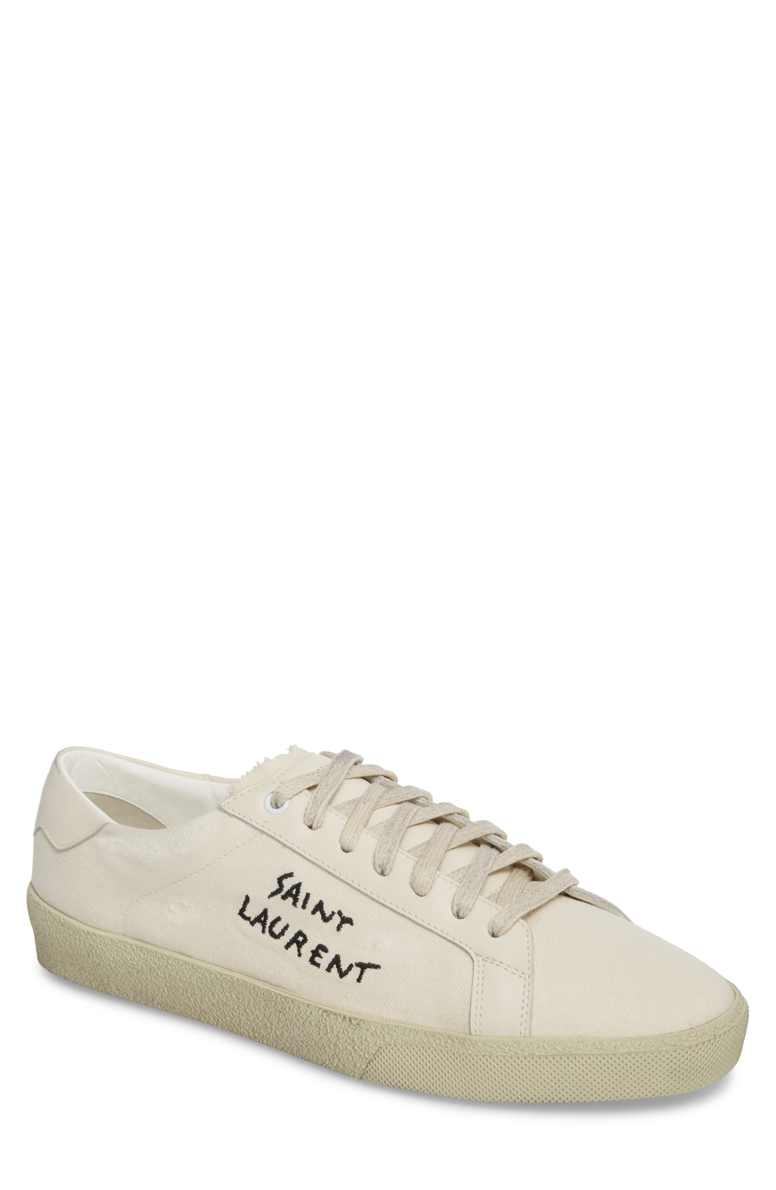 Embroidered Low Top Sneaker,                             Main thumbnail 1, color,                             Pesca