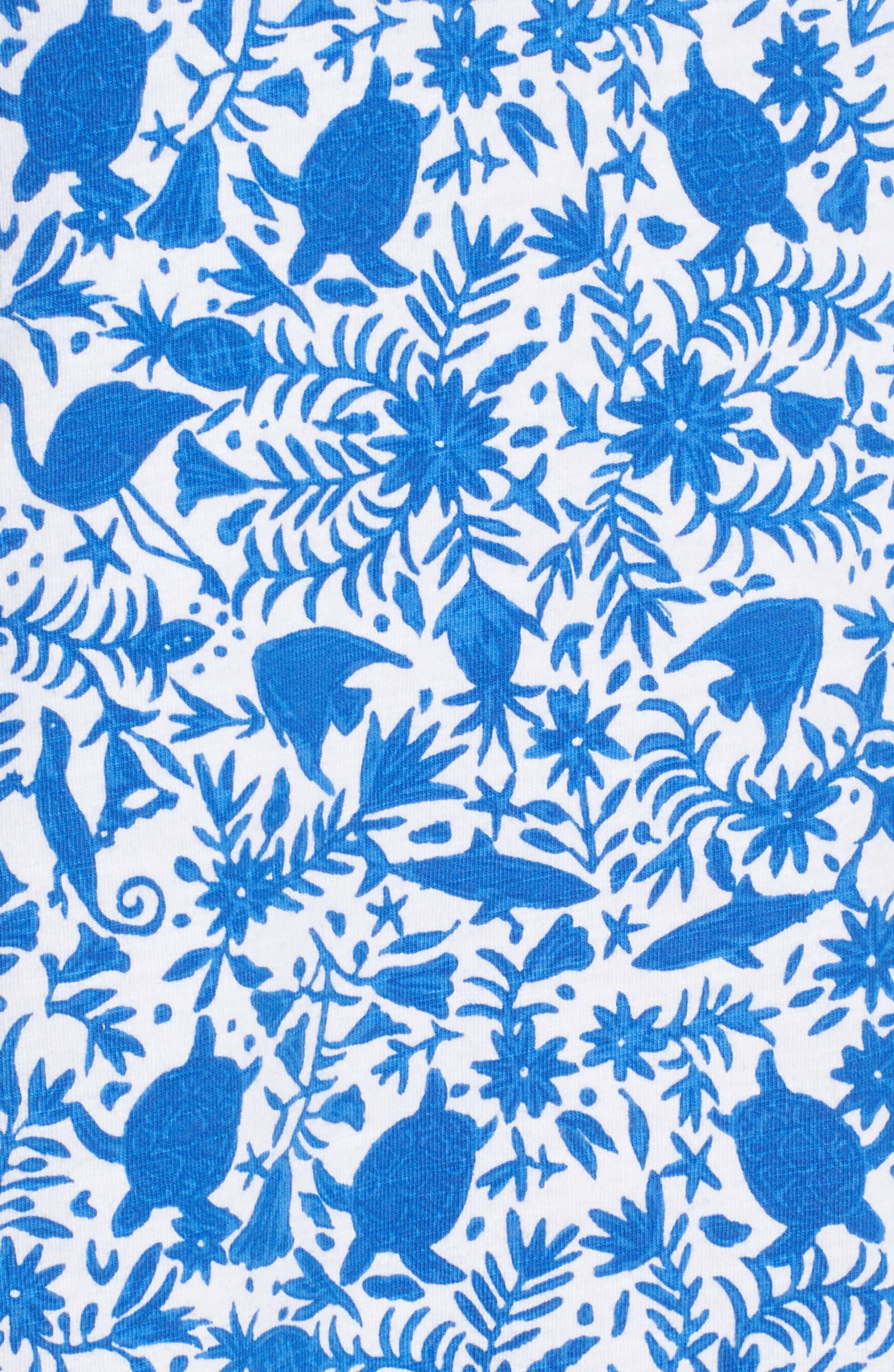 Bahamas Otomi Print Stretch Cotton Dress,                             Alternate thumbnail 5, color,                             Yacht Blue