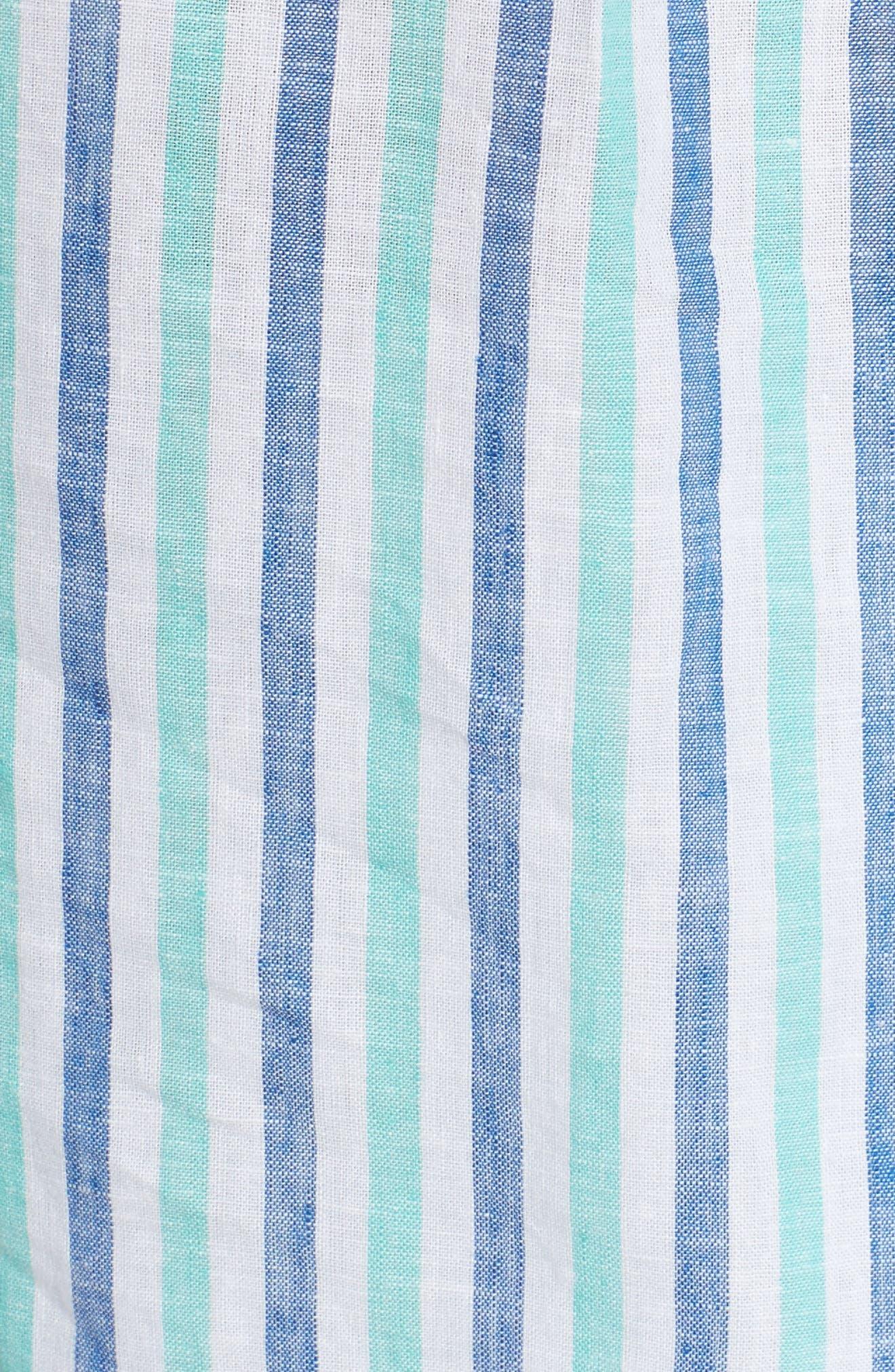Hope Bay Linen Cotton Stripe Top,                             Alternate thumbnail 6, color,                             Capri Blue