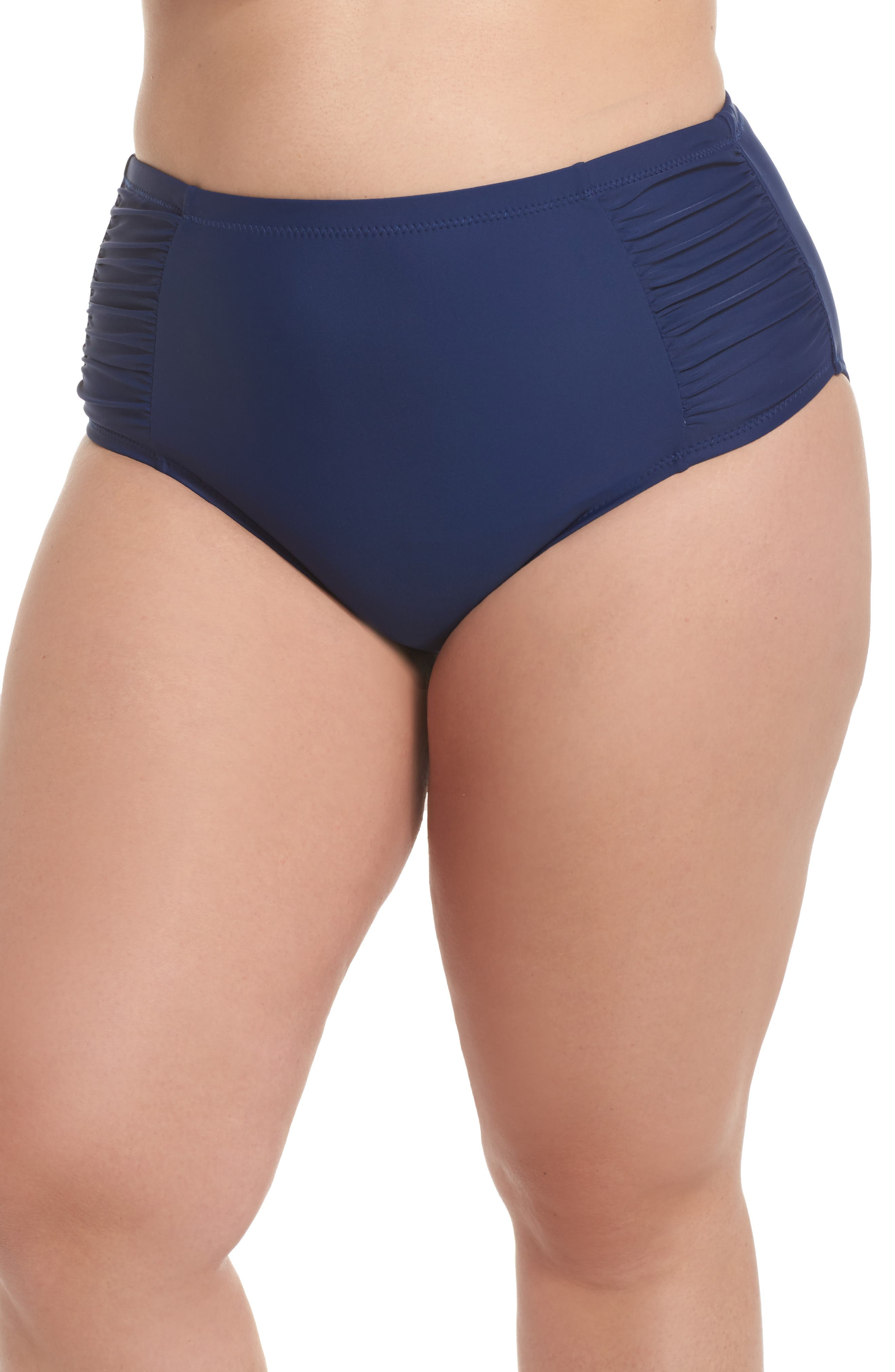 Alternate Image 1 Selected - Jessica Simpson Shirred High Waist Bikini Bottoms (Plus Size)