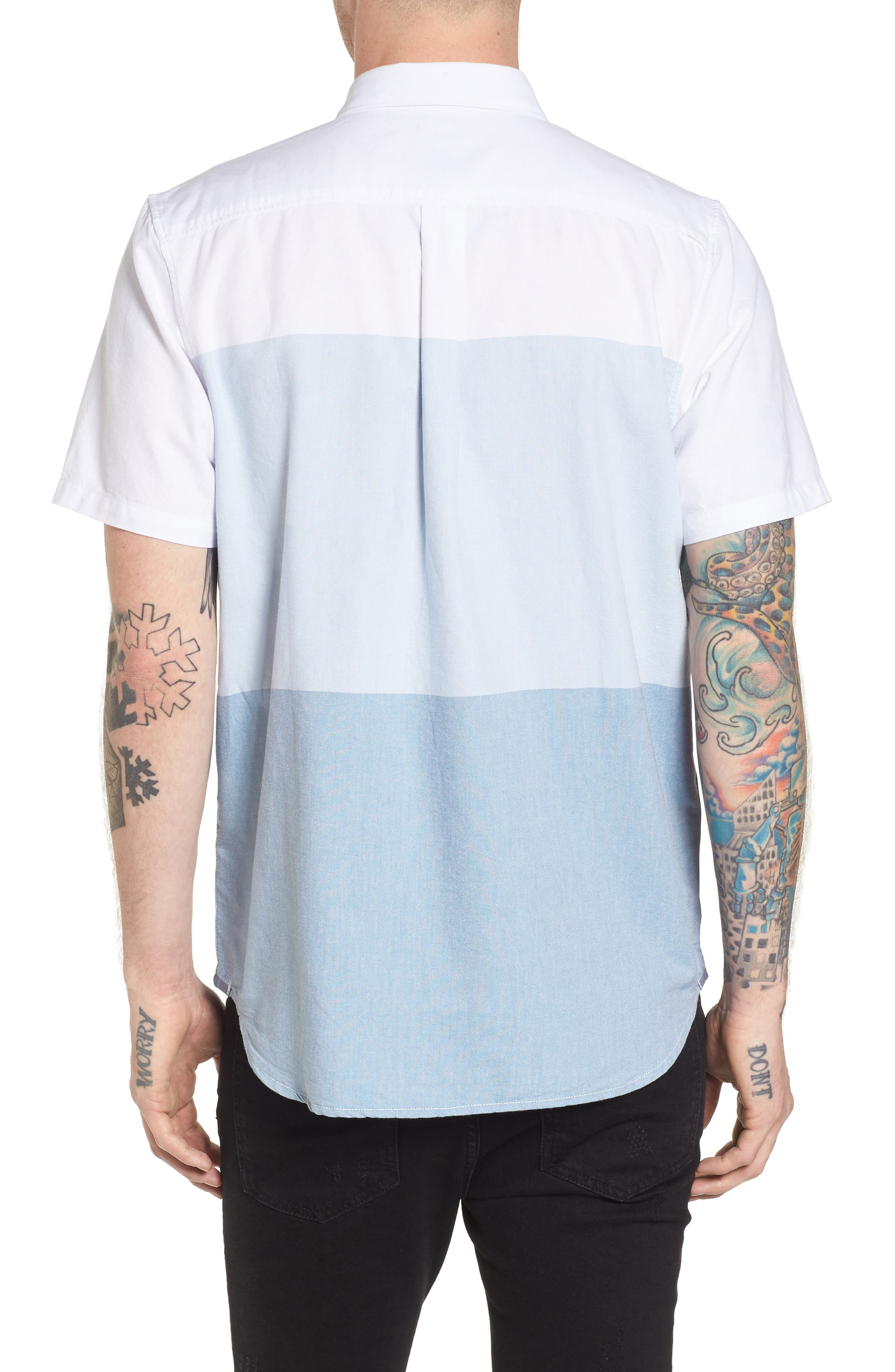 Houser Woven Shirt,                             Alternate thumbnail 3, color,                             White/ Real Teal