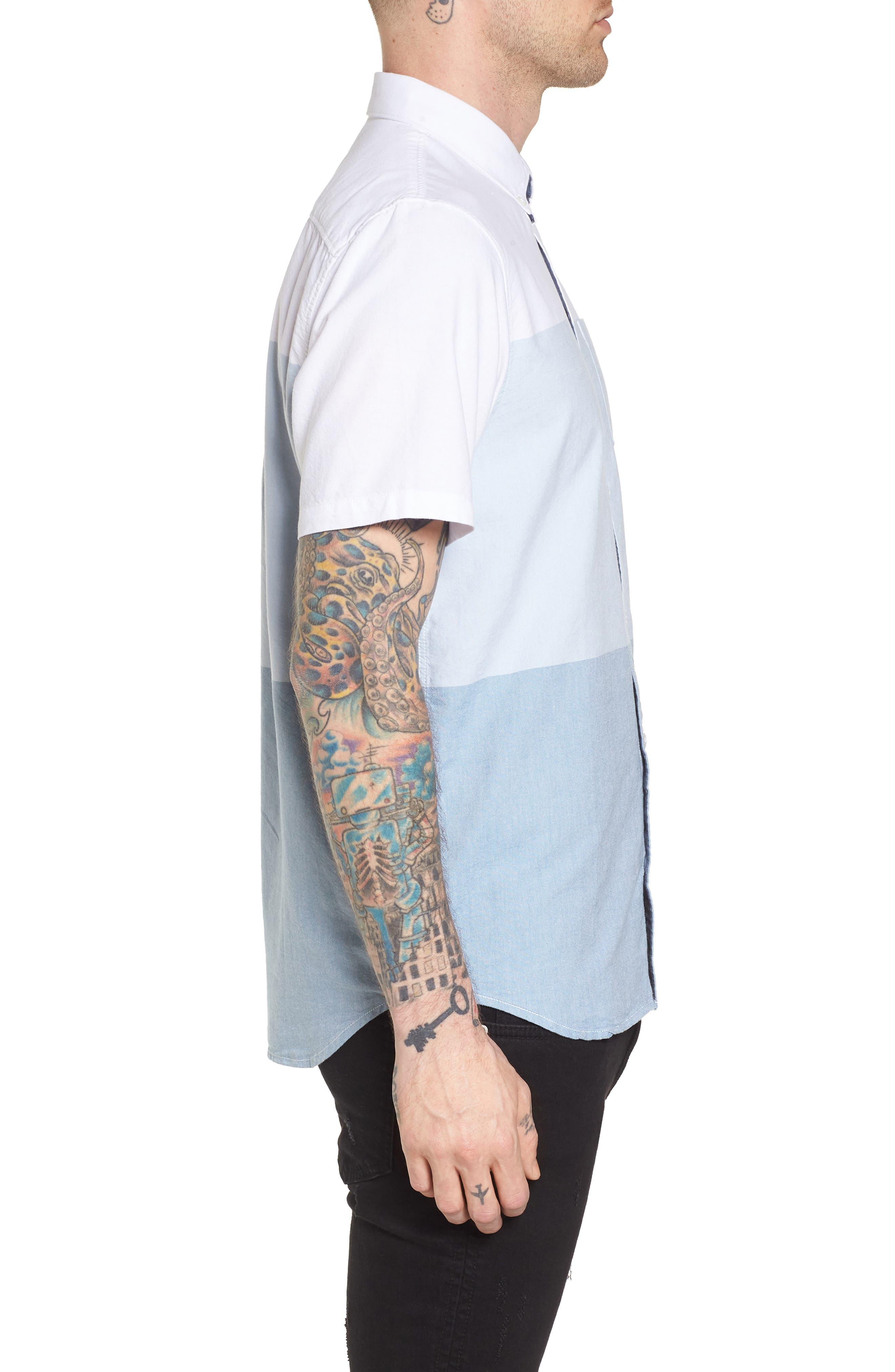 Houser Woven Shirt,                             Alternate thumbnail 4, color,                             White/ Real Teal