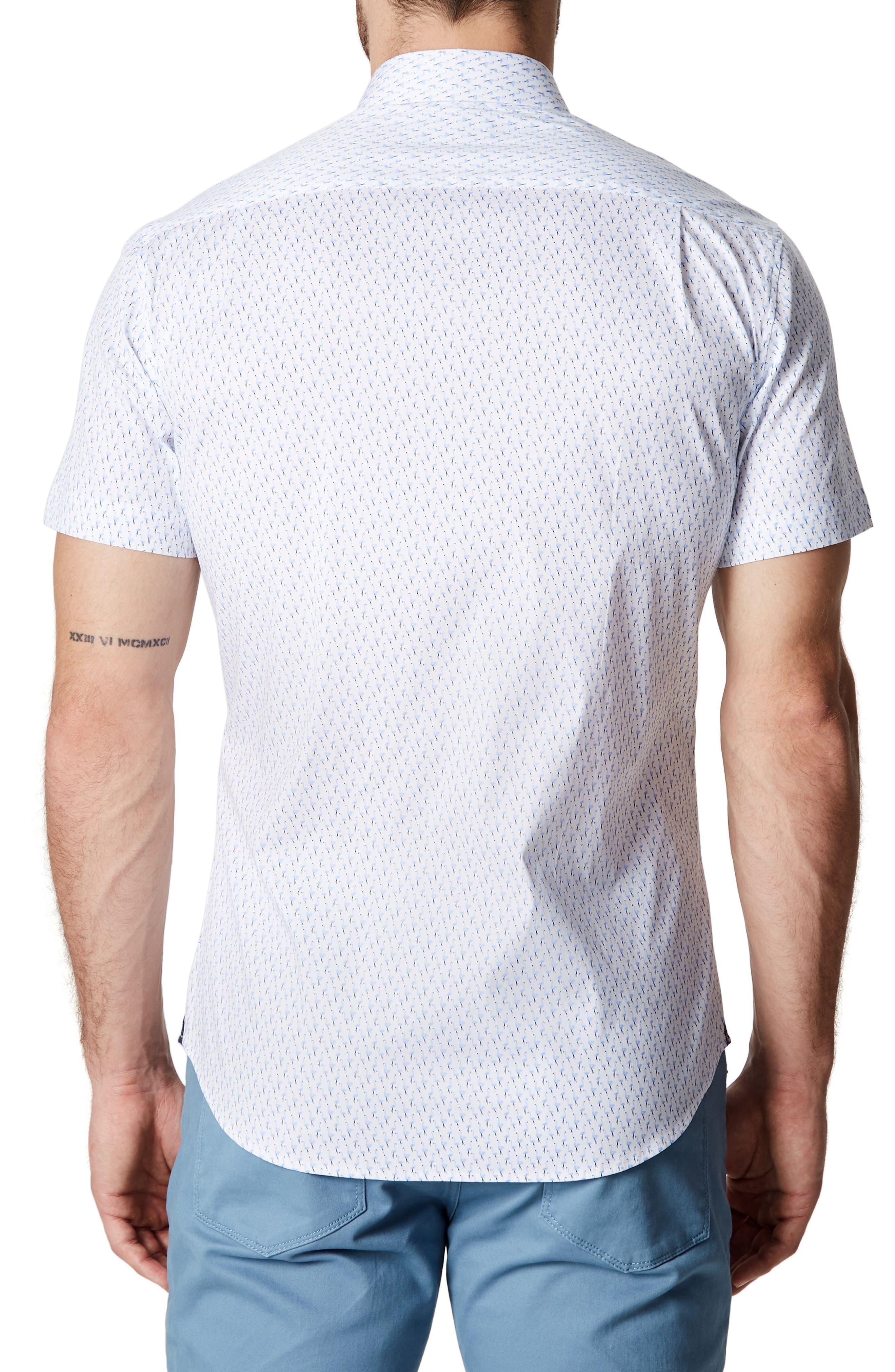 Charm School Trim Fit Short Sleeve Sport Shirt,                             Alternate thumbnail 2, color,                             Blue
