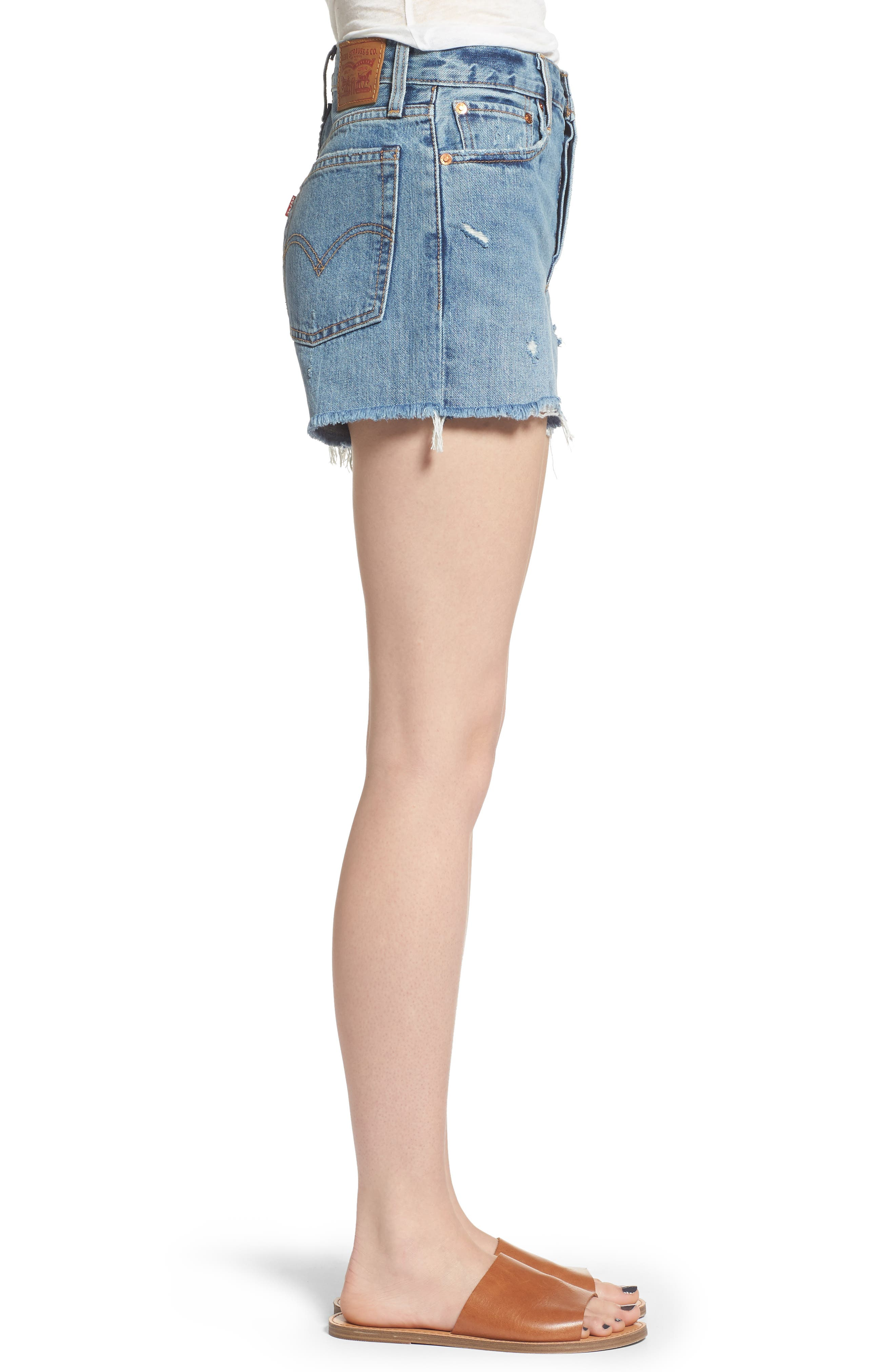 Wedgie High Waist Cutoff Denim Shorts,                             Alternate thumbnail 3, color,                             Blue Your Mind