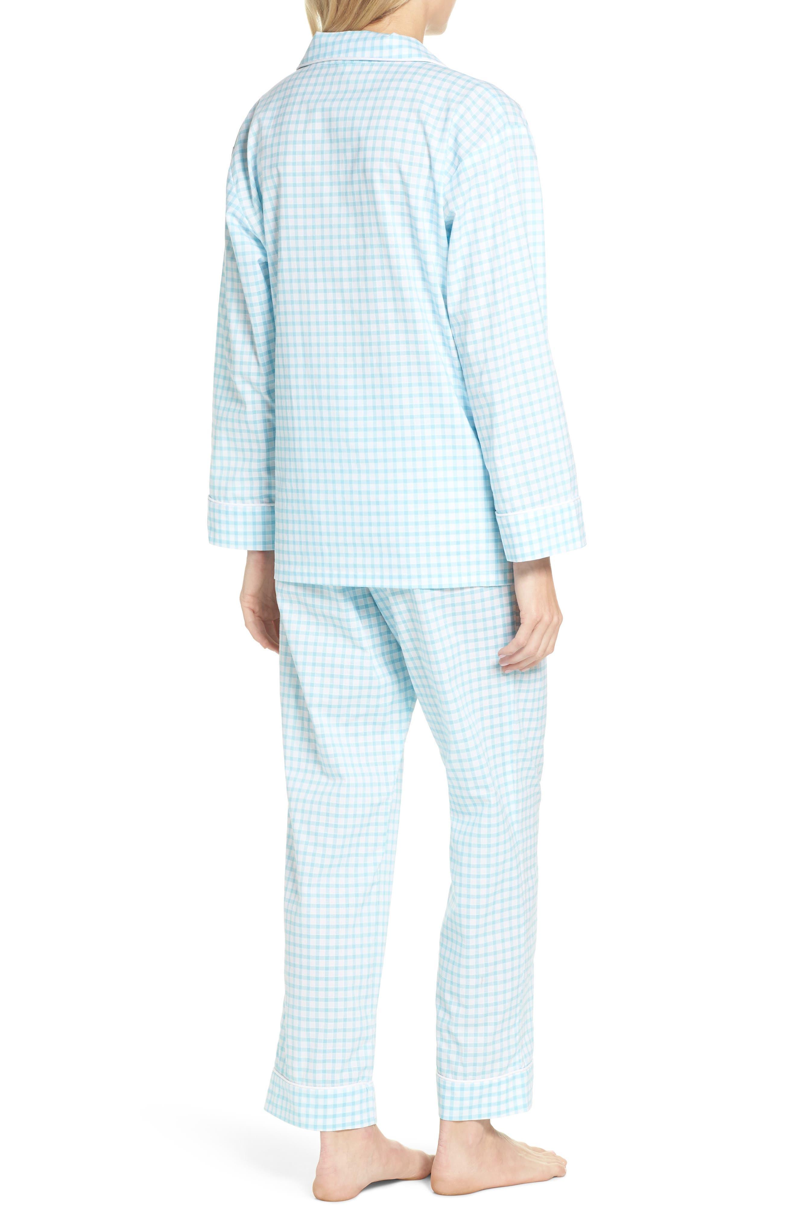 Gingham Pajamas,                             Alternate thumbnail 2, color,                             Aqua Gingham